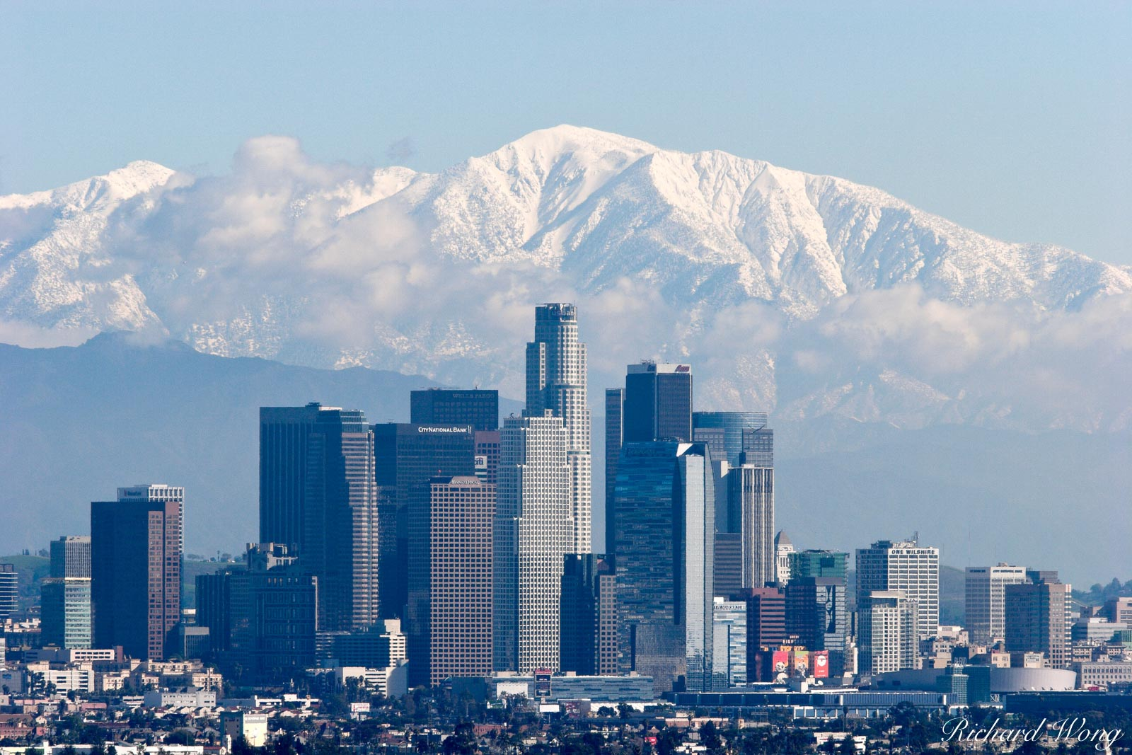 Los Angeles Skyline with Snowy Mount Baldy in Background, California, photo, photo