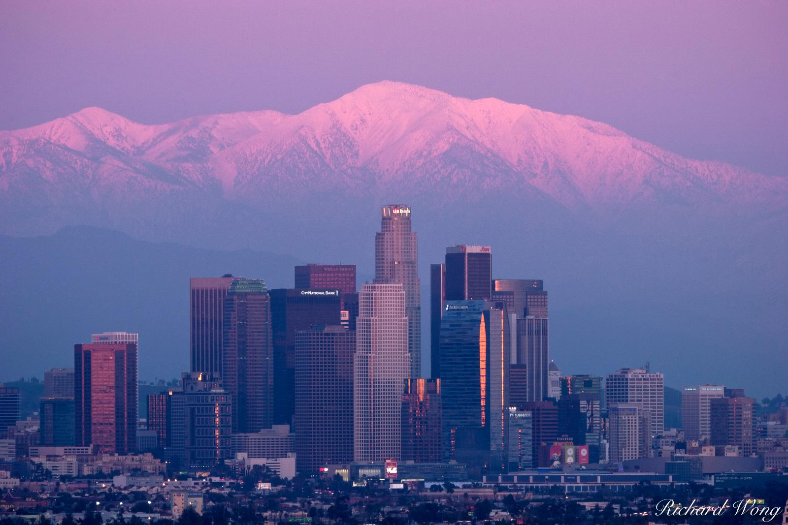 L.A. Skyline with Sunset Alpenglow on Snowy Mount Baldy Peak in Background, Southern California, photo, photo