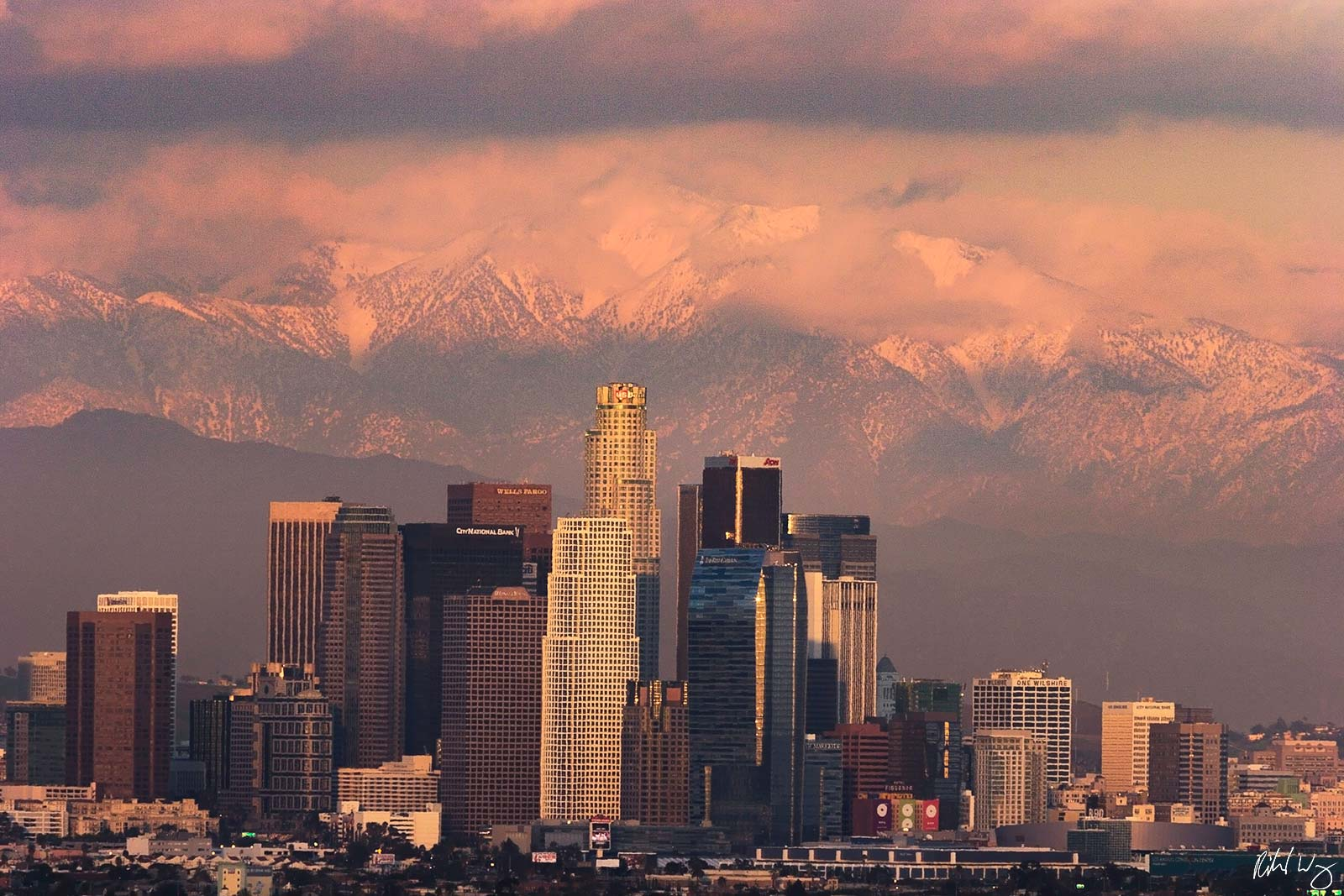 Winter Storm Sunset, Los Angeles, California, photo, photo