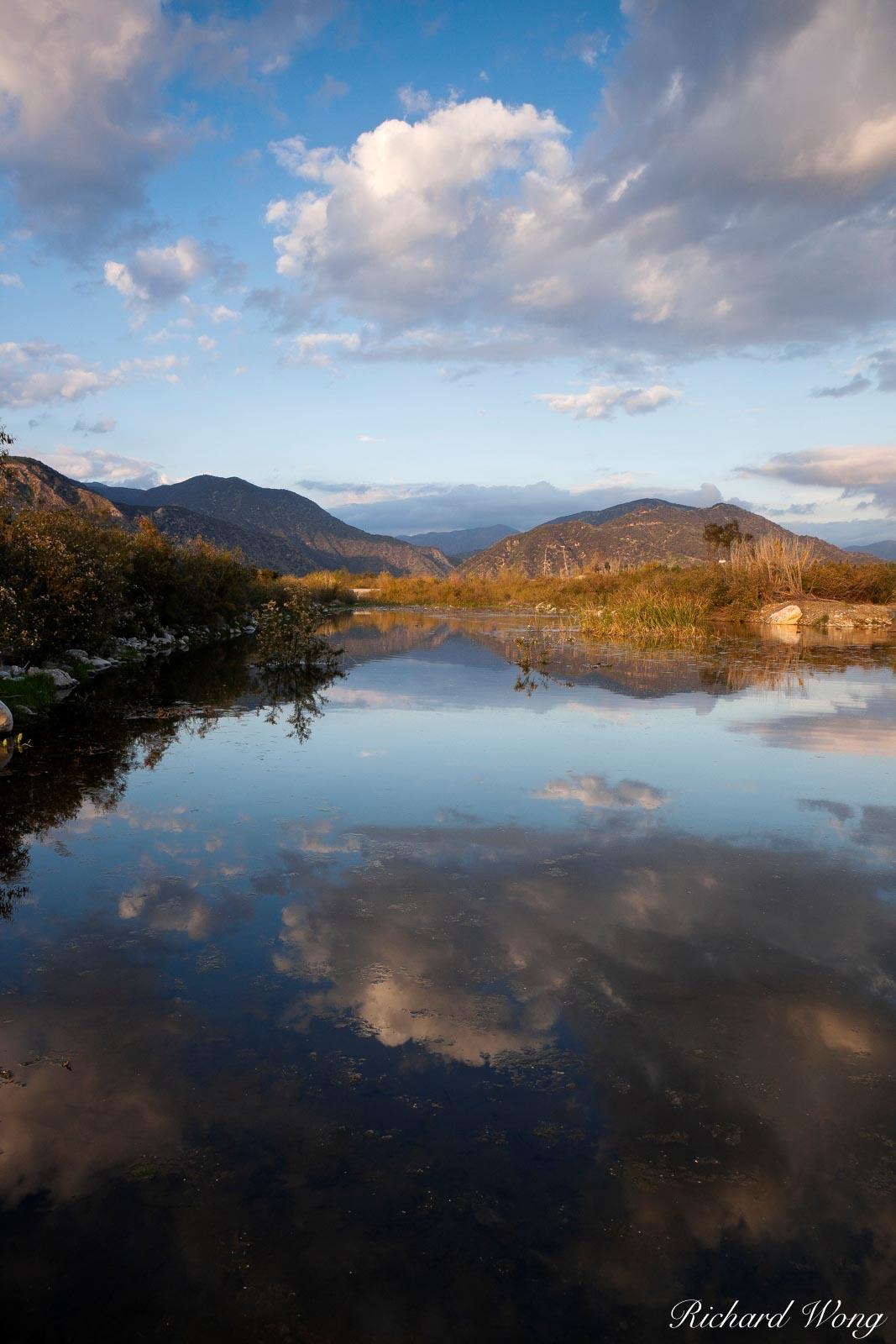 San Gabriel River Water Reflection, San Gabriel Valley, California, photo, photo