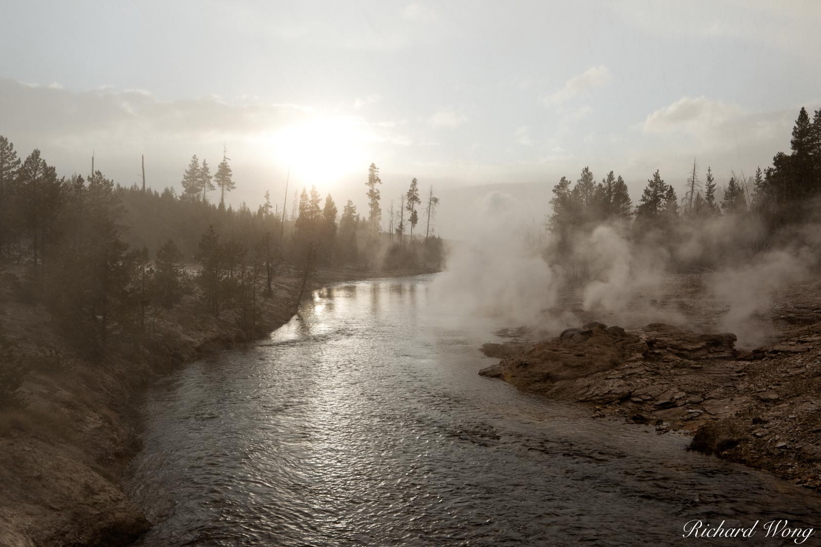 Snowing at Sunset Along Firehole River (Upper Geyser Basin), Yellowstone National Park, Wyoming, photo, photo