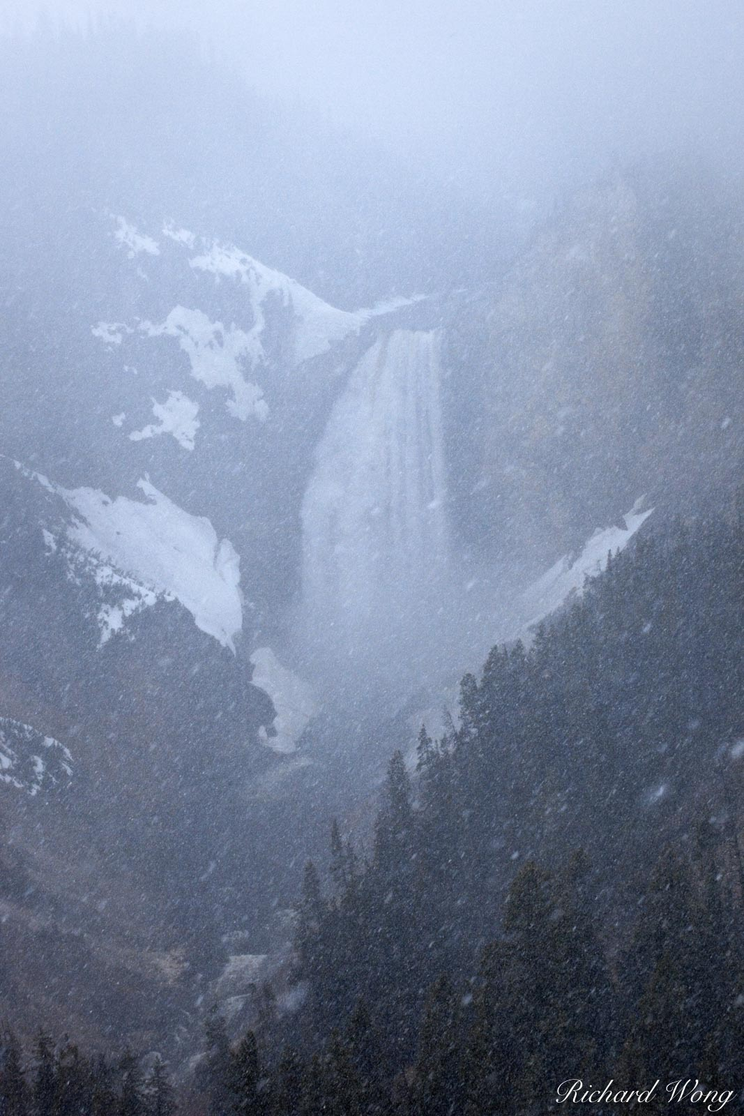 Lower Yellowstone Falls in Snow Storm at North Rim, Yellowstone National Park, Wyoming, photo, photo