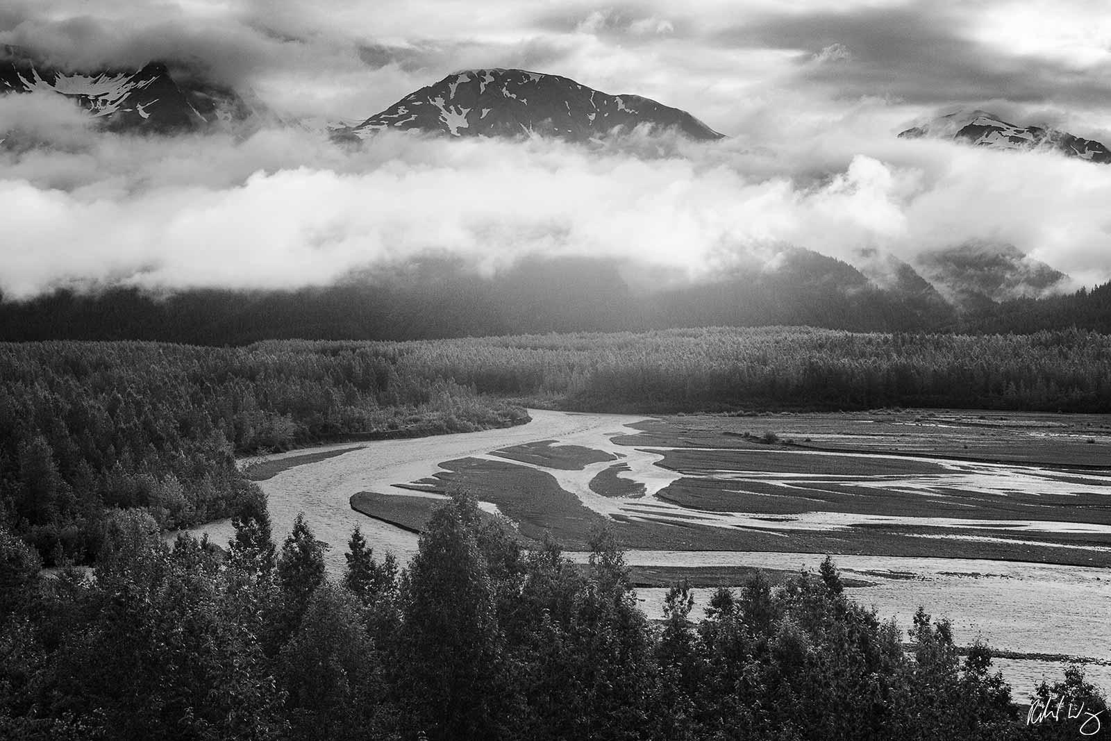 Black and White Photo: Resurrection River Scenic Vista From Exit Glacier Trail, Kenai Fjords National Park, Alaska