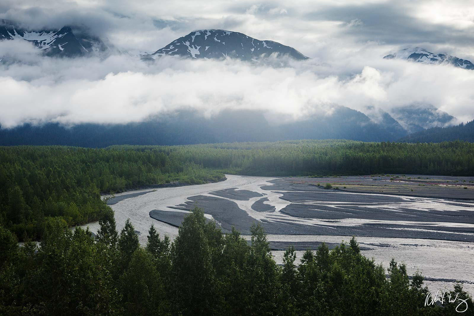 Resurrection River Scenic Vista From Exit Glacier Trail, Kenai Fjords National Park, Alaska, photo, photo