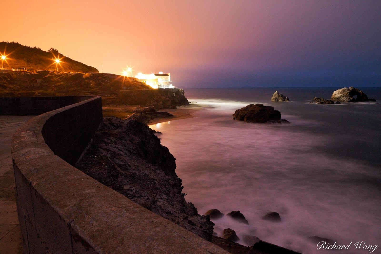 Cliff House and Seal Rocks at Night, San Francisco, California, photo, photo