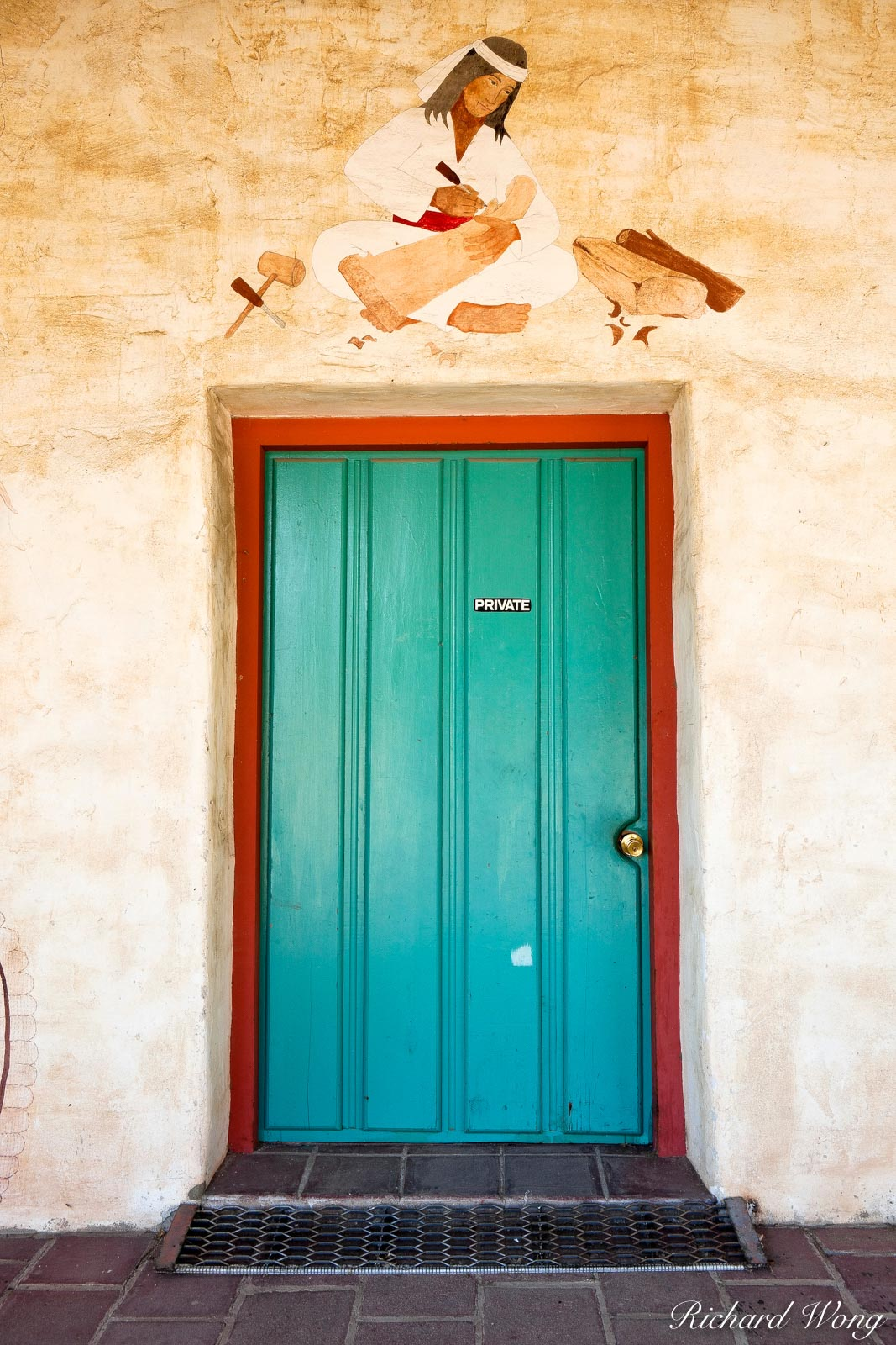 Native American Mural, Doorway, Mission San Antonio de Padua, Monterey County, California, photo, photo
