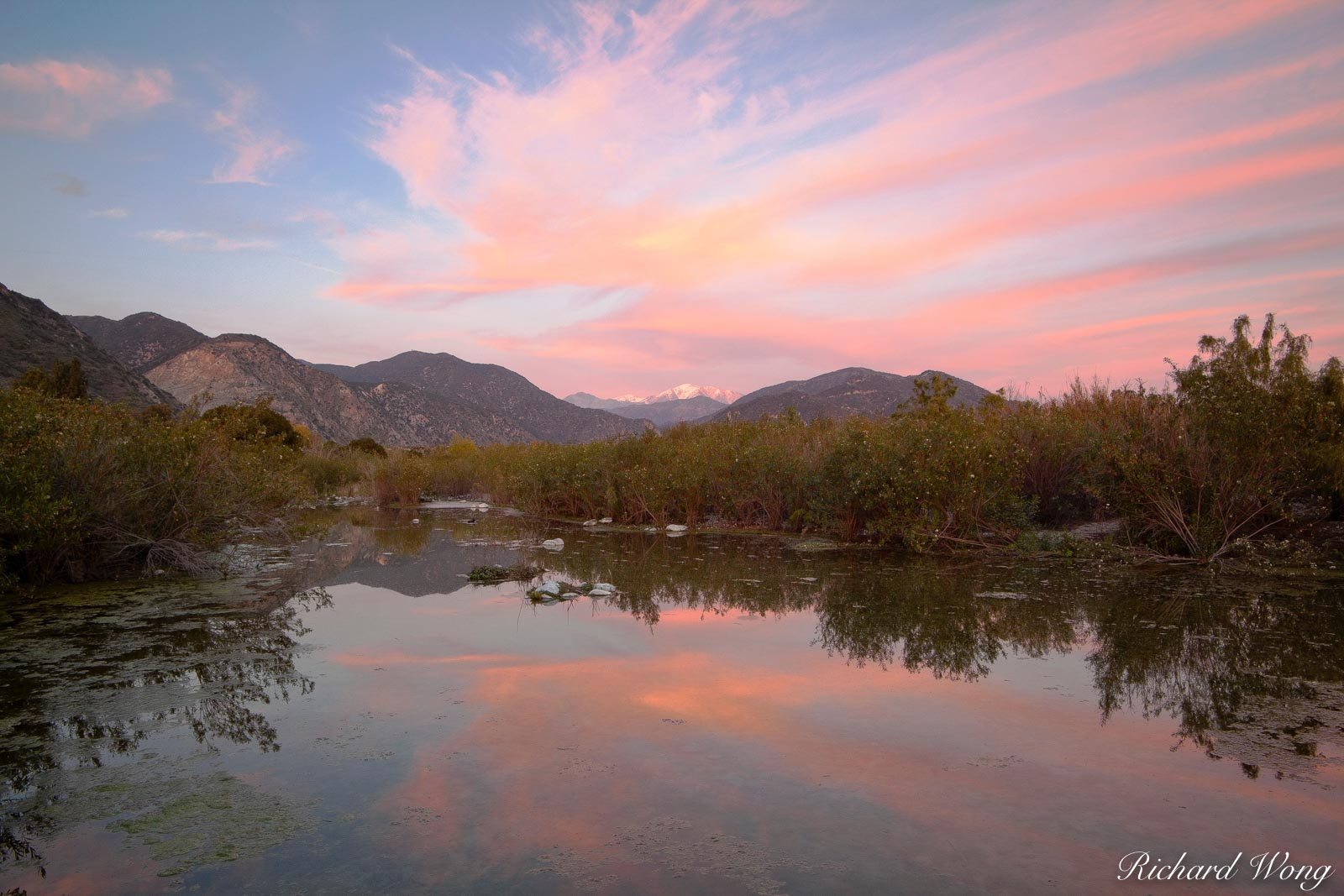San Gabriel Mountains Sunset Alpenglow Reflection in Pond, San Gabriel Valley, California, photo, photo