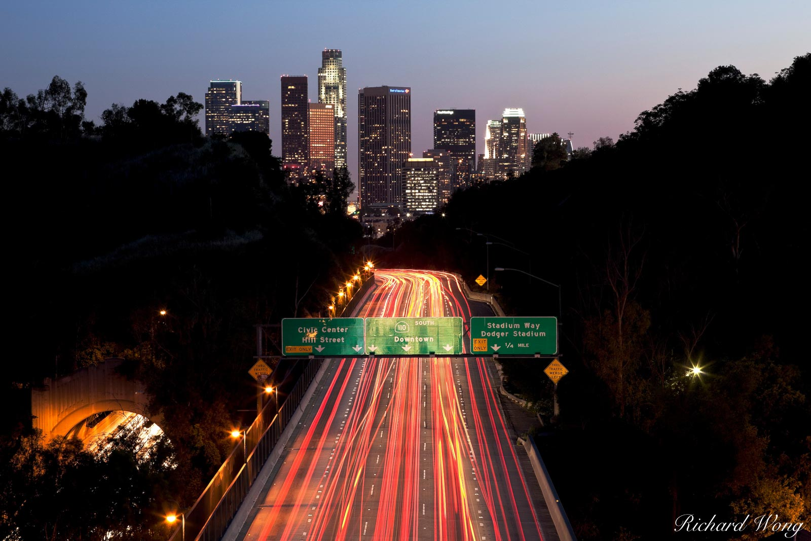 Arroyo Seco Parkway (CA Route 110) Leading to Downtown Los Angeles, California, photo, photo
