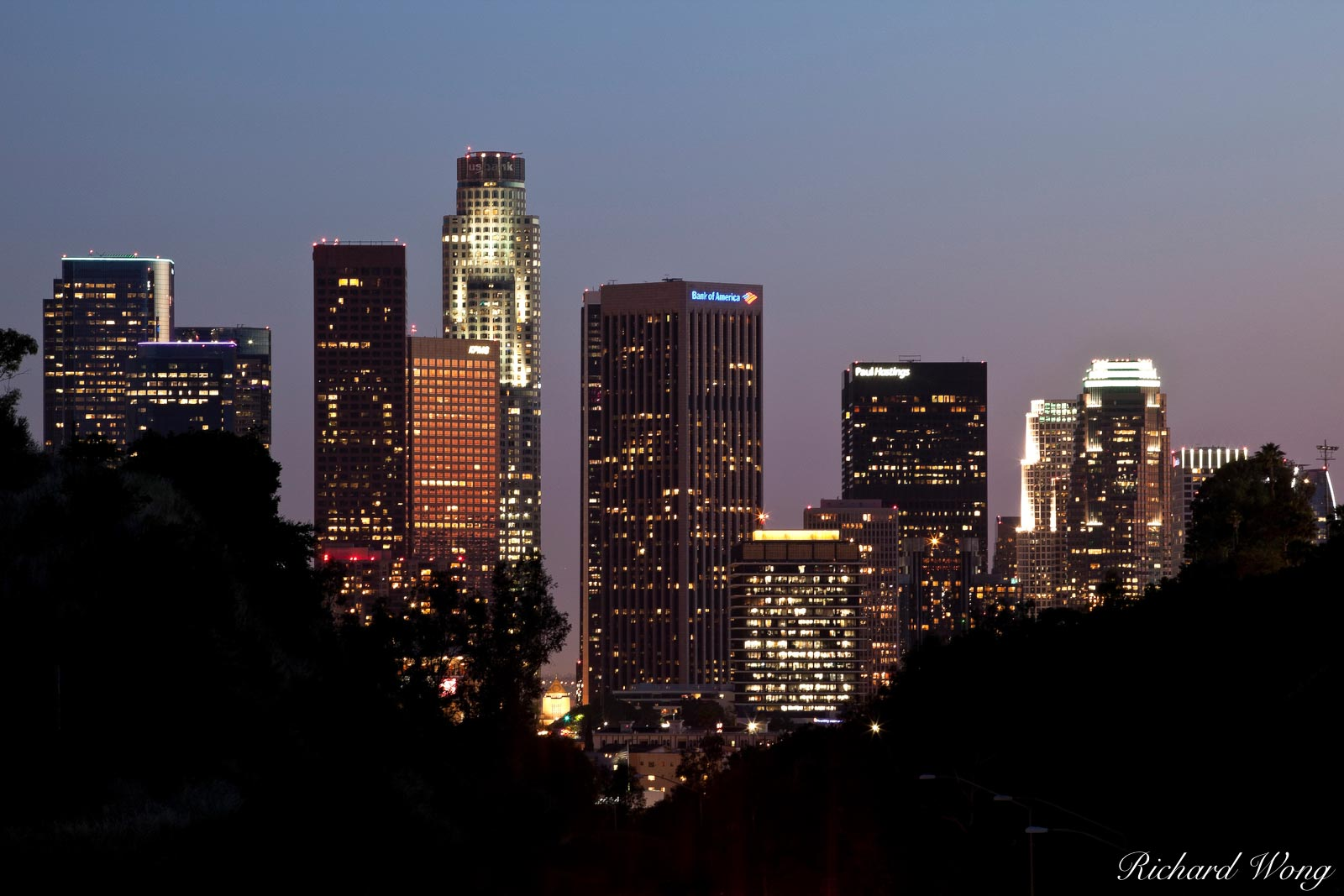 Downtown L.A. Skyline View from Elysian Park, Los Angeles, California, photo, photo