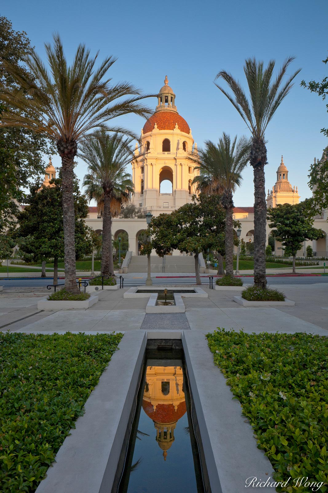 Euclid Avenue Sunrise View of Pasadena City Hall, Pasadena, California, photo, photo