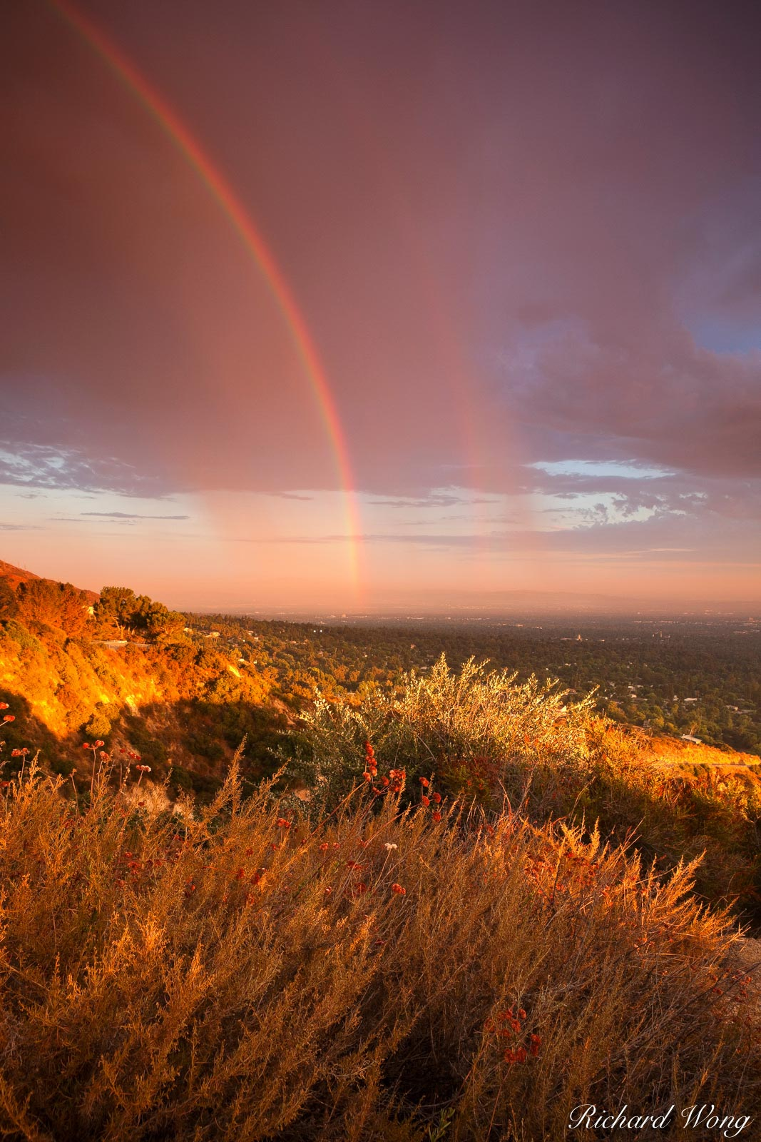 Double Rainbow from Sunset Ridge, Angeles National Forest, California, photo, photo