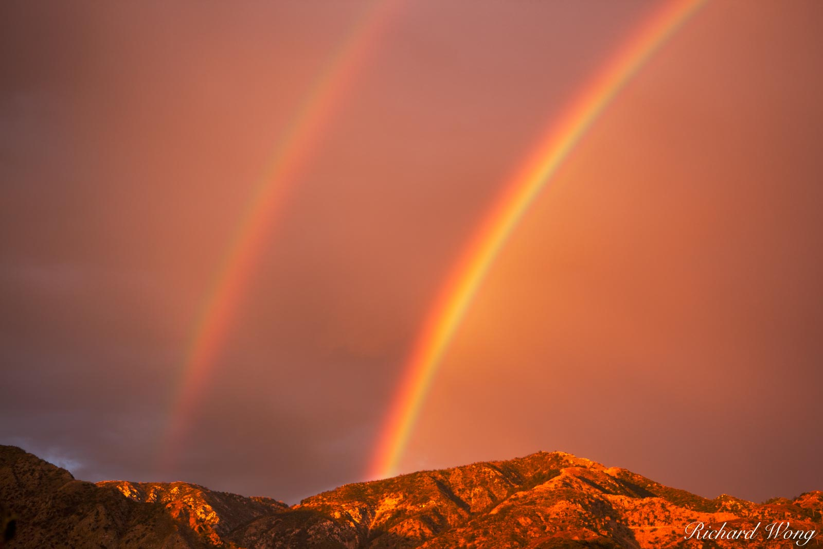 Double Rainbow over San Gabriel Mountains, Angeles National Forest, California, photo, photo