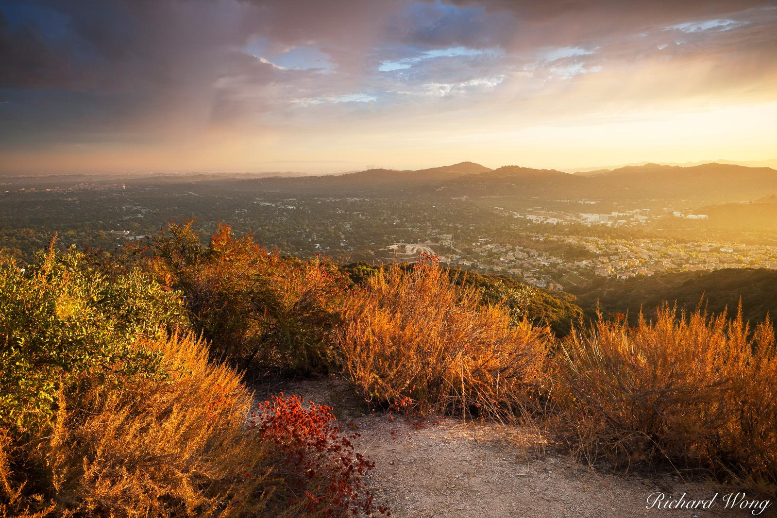 Sunset Ridge in San Gabriel Mountains Above Altadena, Angeles National Forest, California, photo, photo