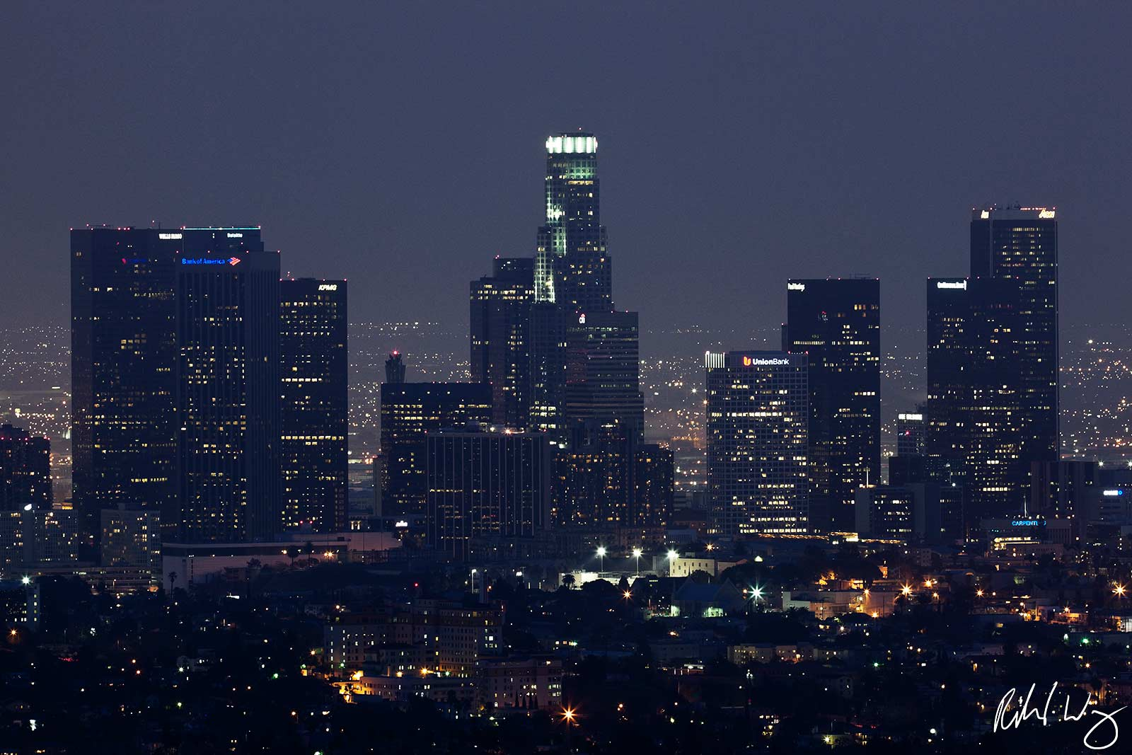 Downtown Los Angeles Skyline at Night from Griffith Observatory, California, photo