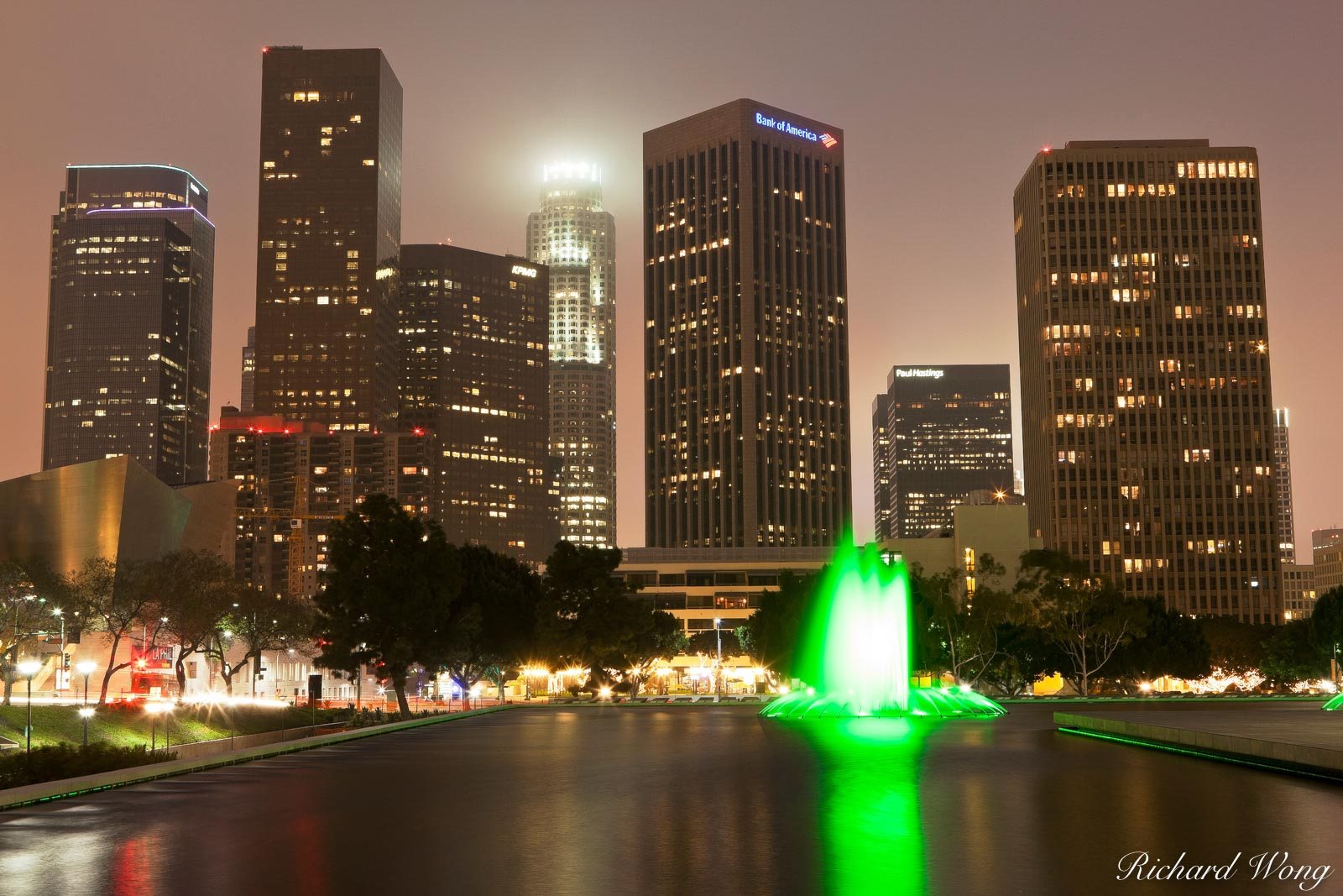 LADWP Water Fountain and Downtown Skyline at Night, Los Angeles, California, photo, photo