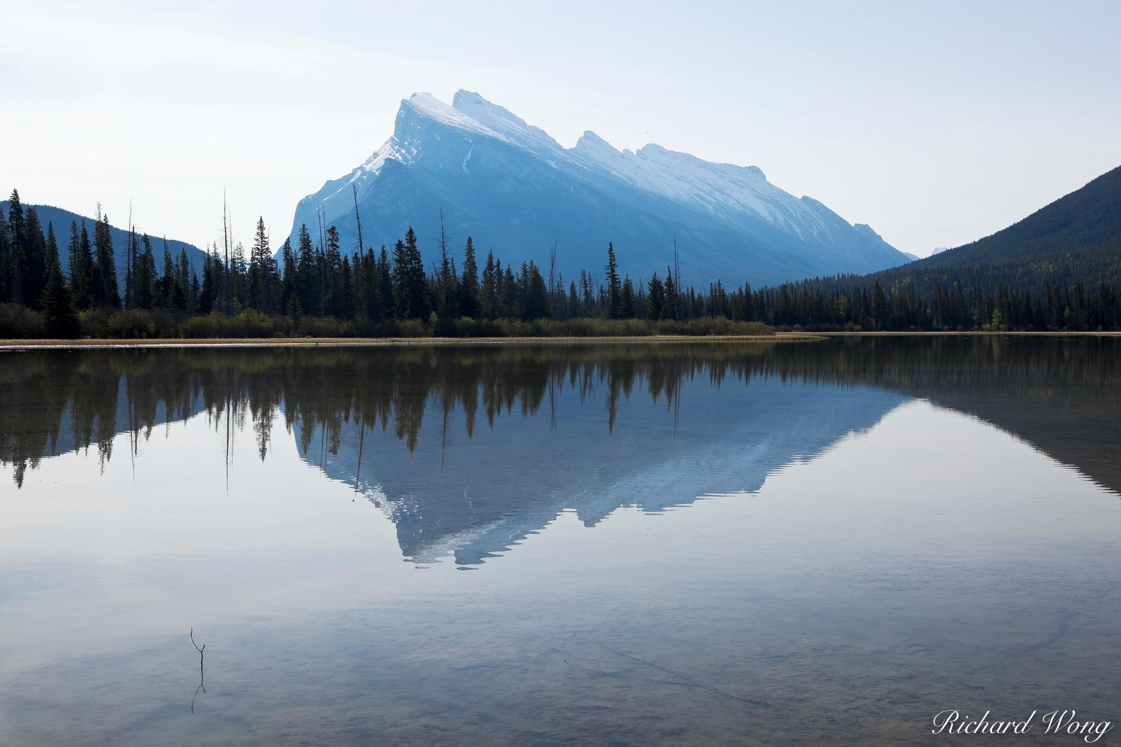 Mount Rundle Reflection in Vermillion Lakes, Banff National Park, Alberta, Canada, Photo, photo