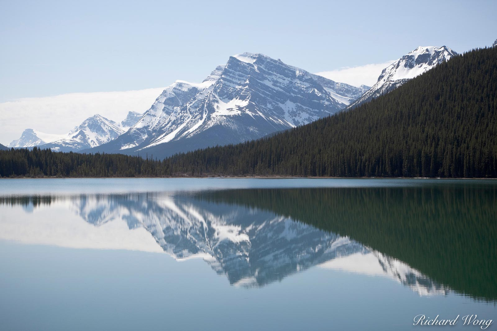 Mount Patterson and Waputik Range Reflection in Lower Waterfowl Lake, Banff National Park, Alberta, Canada, Photo, photo