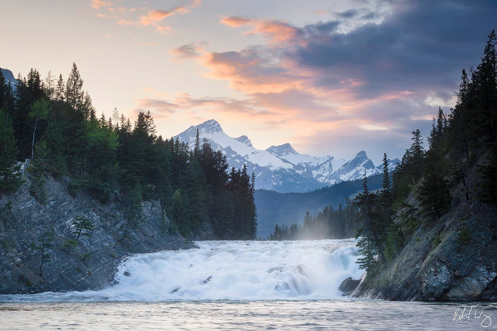 Bow Falls at Sunset, Banff National Park, Alberta, Canada, photo