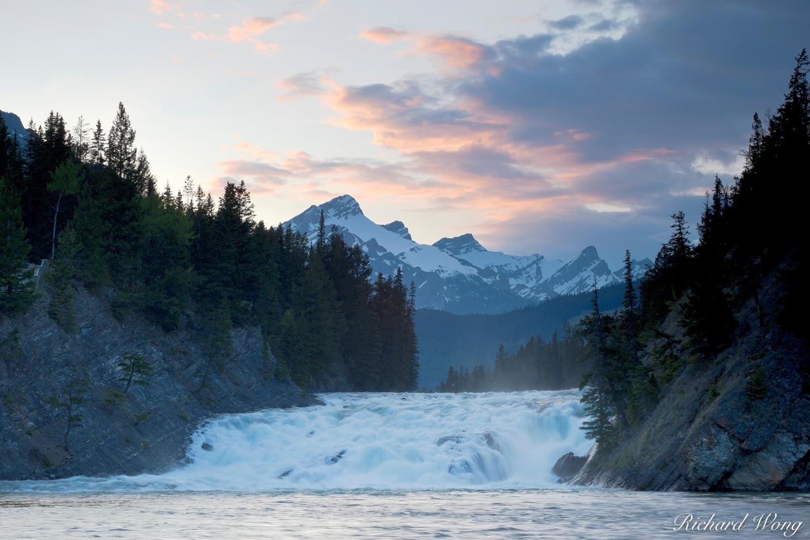 alberta, banff, banff national park, bow falls, bow river, canada, canadian rockies, cold, color image, colour image, dusk, evening, horizontal format, landscape, landscape photography, landscapes, na, photo