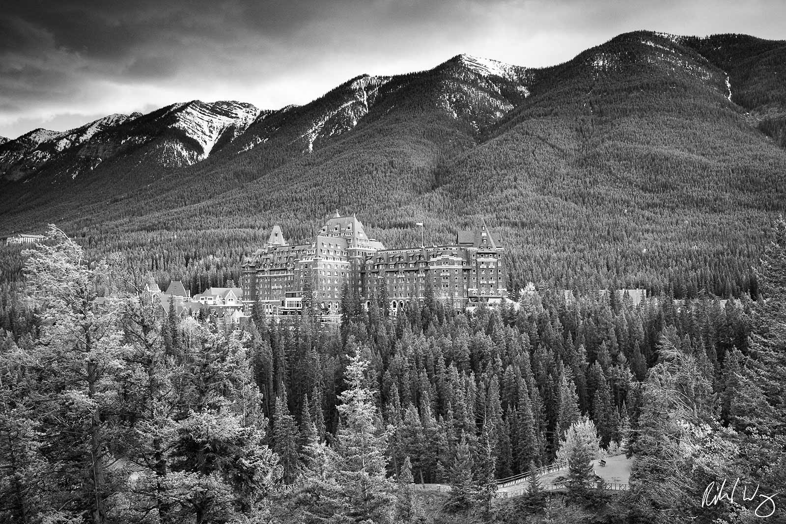 Black and White Photo: Fairmont Banff Hot Springs Resort, Banff, Alberta, Canada