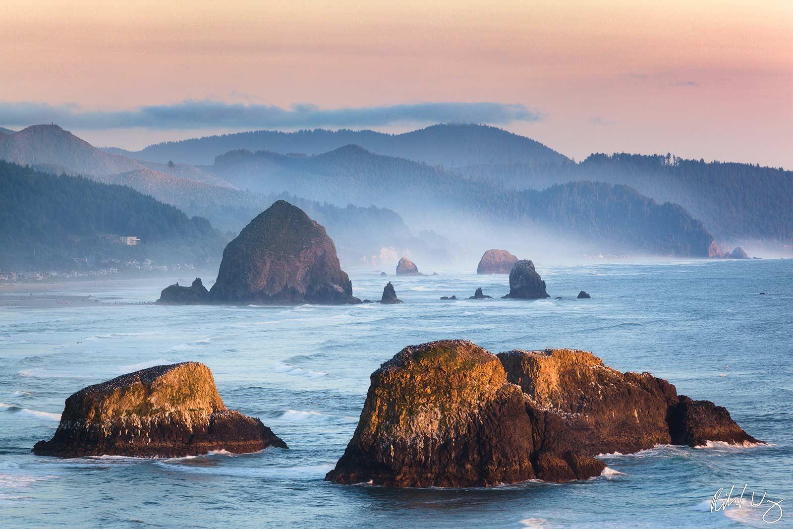 Cannon Beach Seastacks at Sunset, Ecola State Park, Oregon, photo, photo