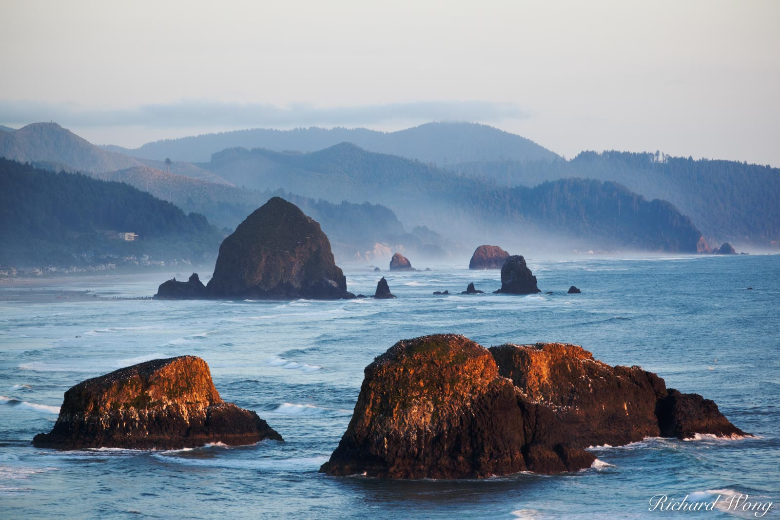 Cannon Beach Seastacks at Sunset, Ecola State Park, Oregon, photo, photo