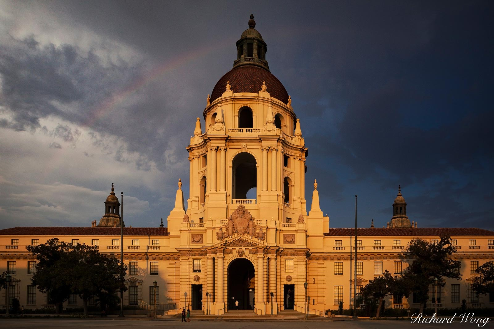 Rainbow Over Pasadena City Hall, California, photo, photo