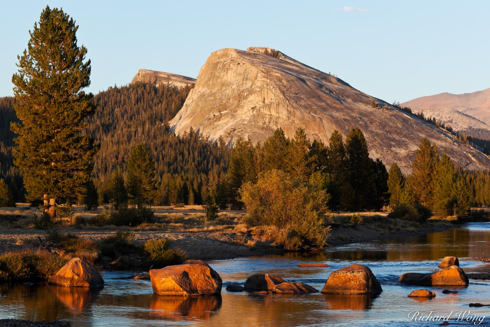 Lembert Dome and Tuolumne River at Sunset, Yosemite National Park, California, photo, photo