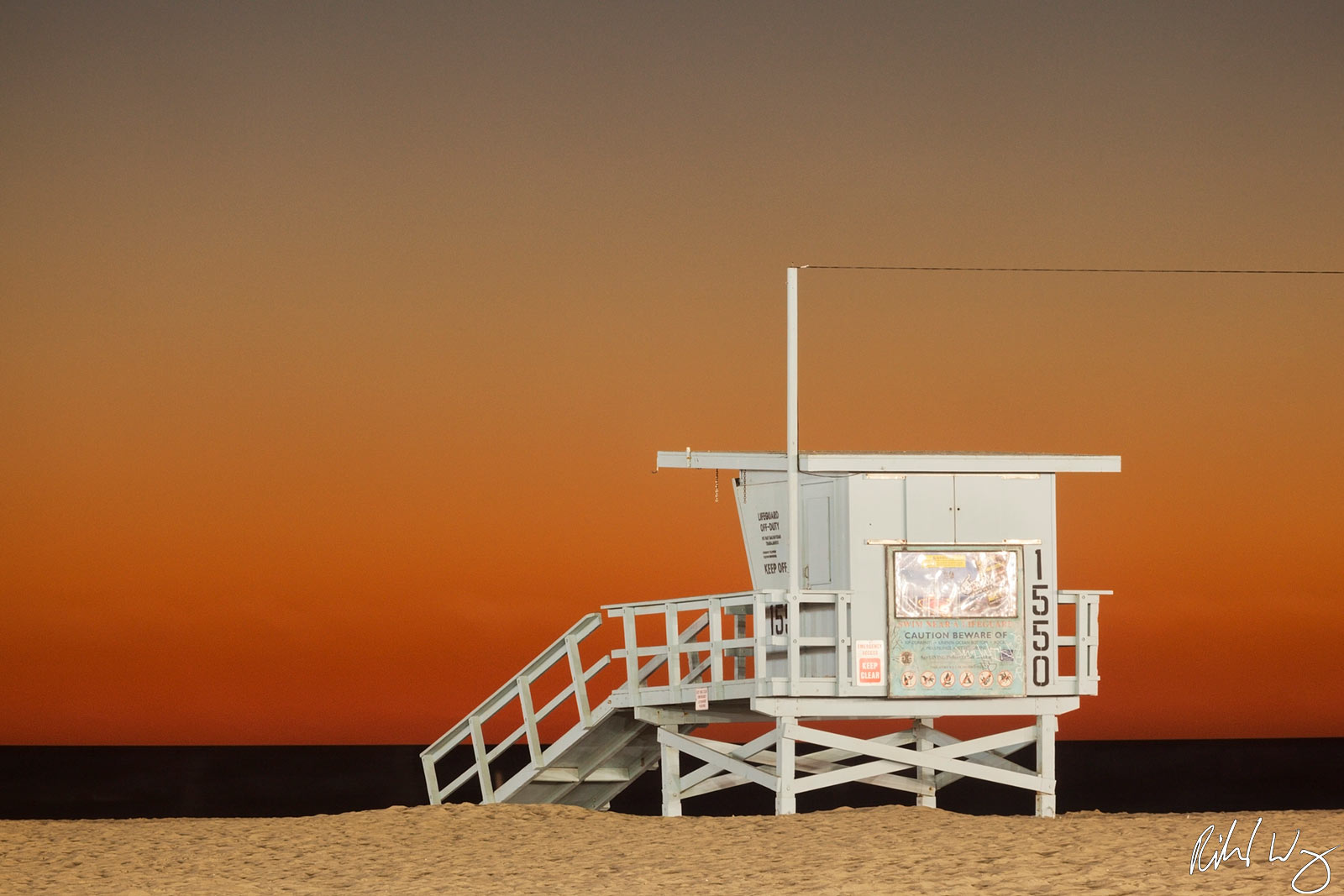 Los Angeles County, Pacific Ocean, beaches, coast, coastal, dusk, evening, lifeguard station, lifeguard tower, night, north america, outdoor, outside, santa monica, santa monica state beach, southern , photo
