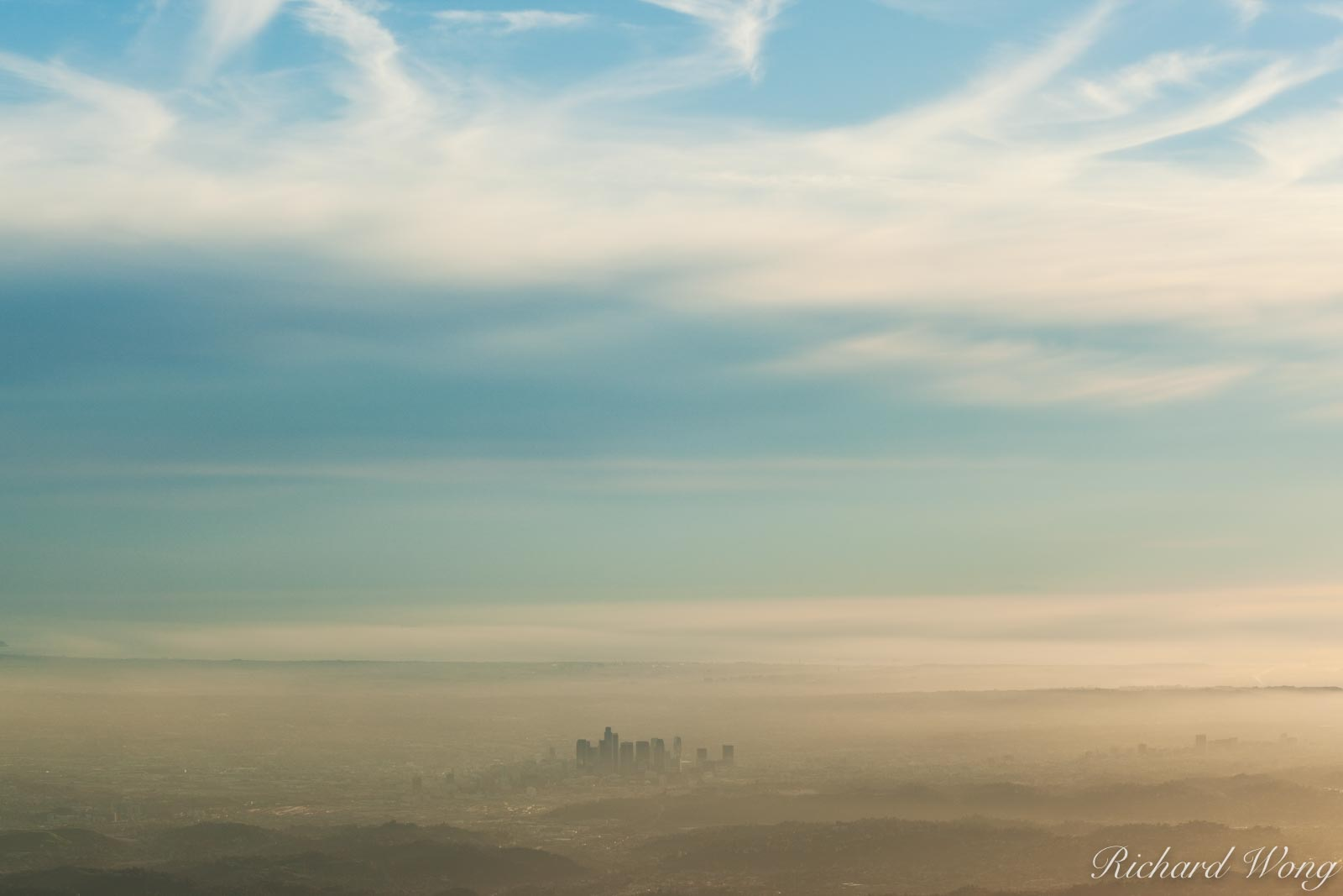 Los Angeles Skyline Rising Above Marine Layer From Mount Wilson Summit, Angeles National Forest, California, photo, photo