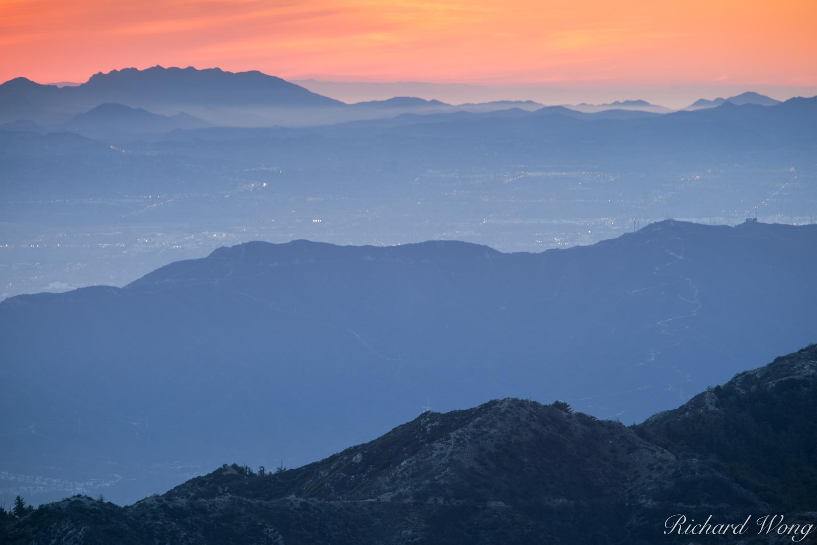 San Gabriel Mountains at Sunset, Angeles National Forest, California, photo, photo