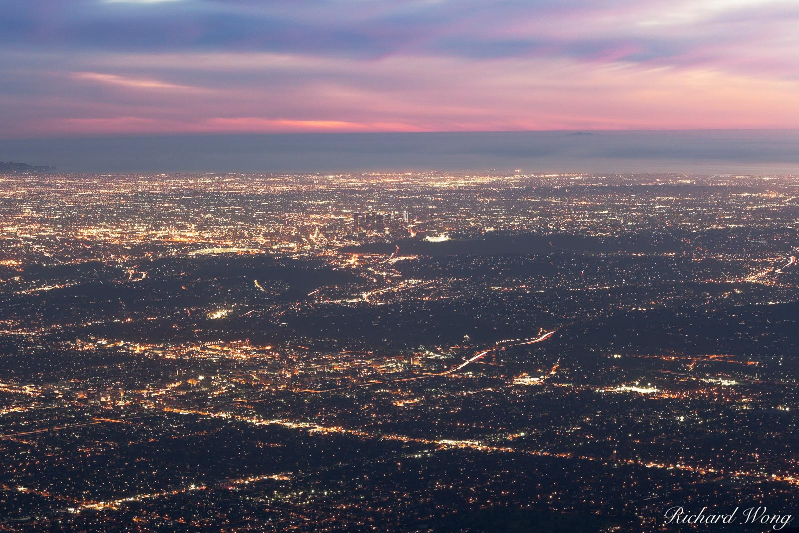 Los Angeles at Night from Mount Wilson Observatory, Angeles National Forest, California, photo, photo