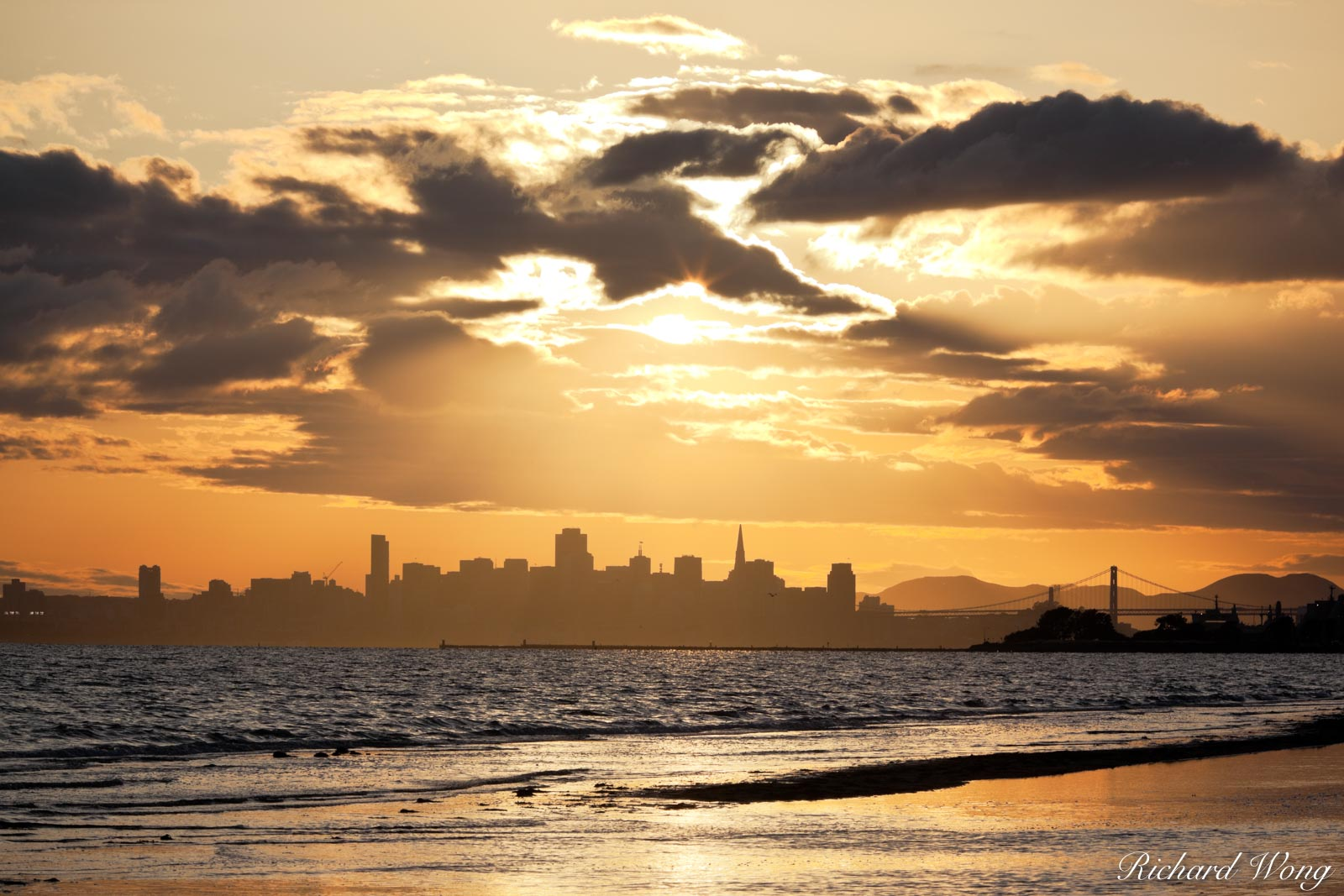 Crown Memorial Beach Sunset With Downtown San Francisco Skyline in Background, Alameda, California, photo, photo