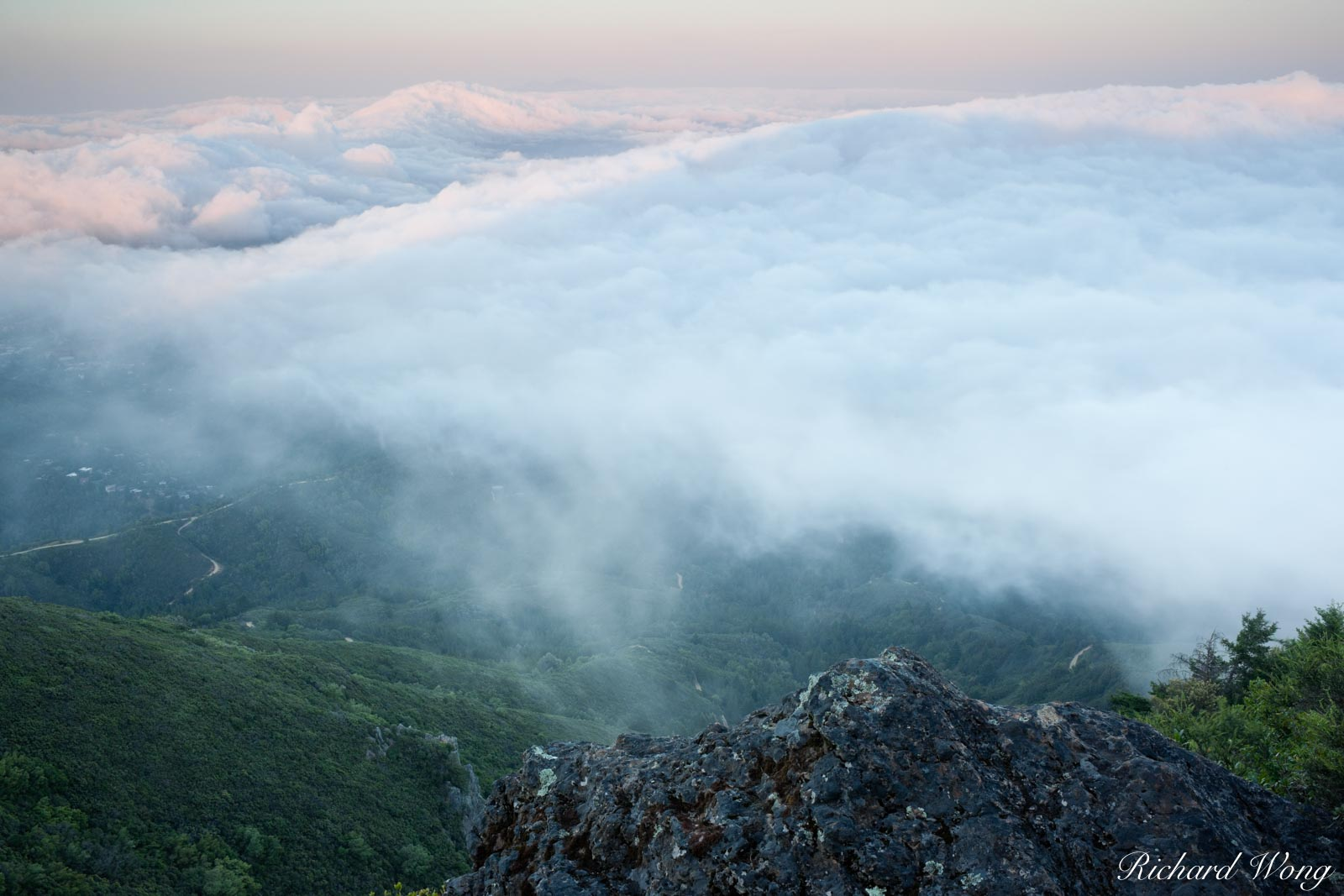 Fog Rolling into Marin County, Mount Tamalpais State Park, California, photo, photo