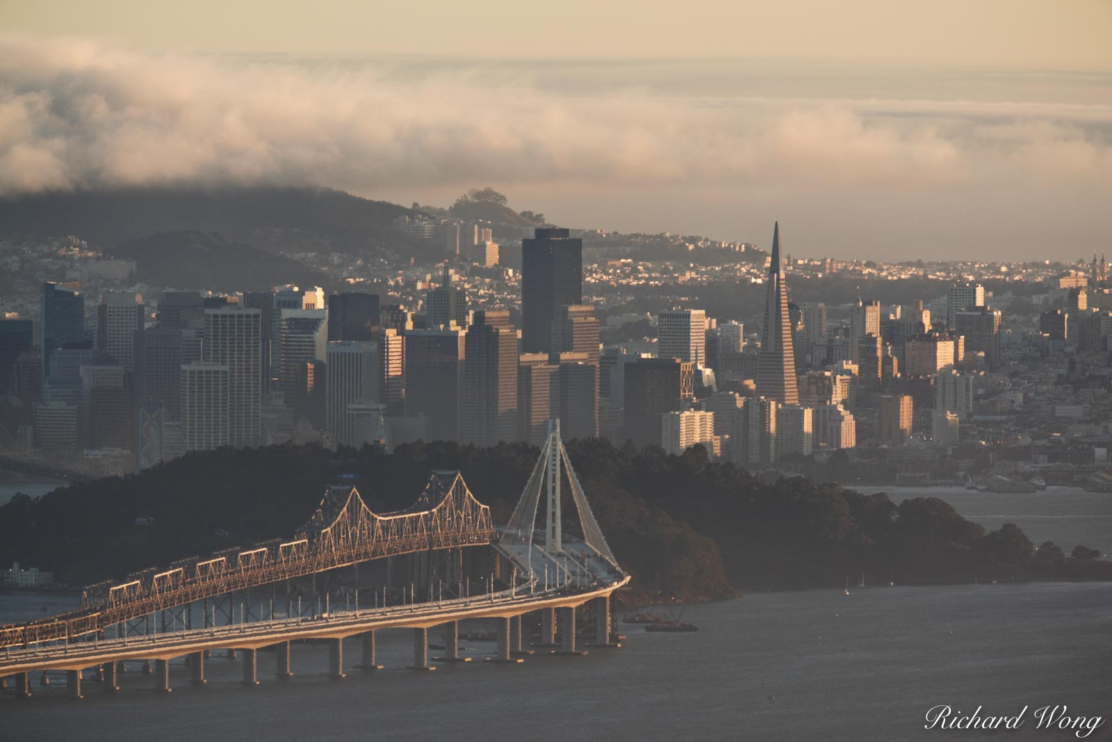 Downtown San Francisco Scenic View From Grizzly Peak Blvd., Berkeley Hills, California, photo, photo