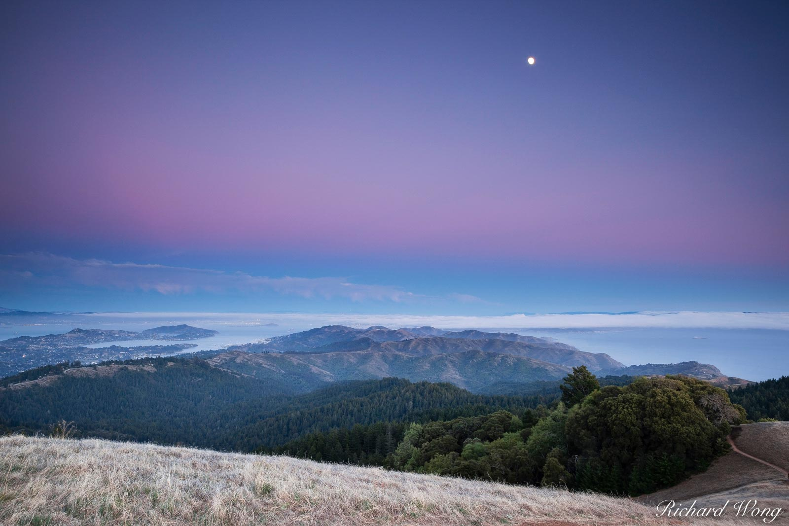 Earth Shadow Over San Francisco, Mount Tamalpais State Park, California, photo, photo