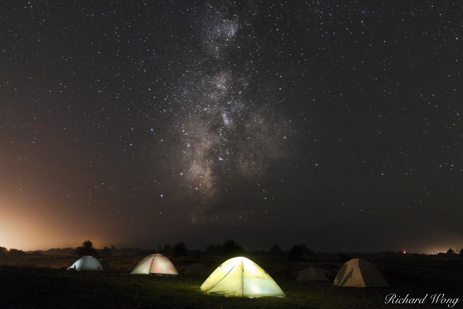 Backroads Camping Trip Tents Under the Milky Way Night Sky at Chanslor Ranch, Bodega Bay, California, photo, photo