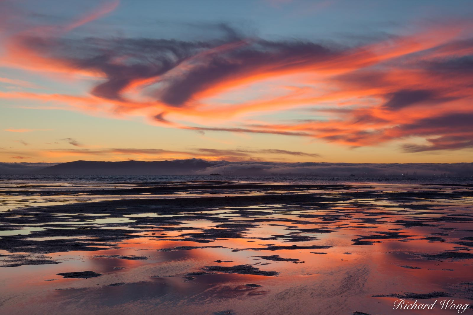 South Shore Beach Sunset Alpenglow at Low Tide, Alameda, California, photo, photo