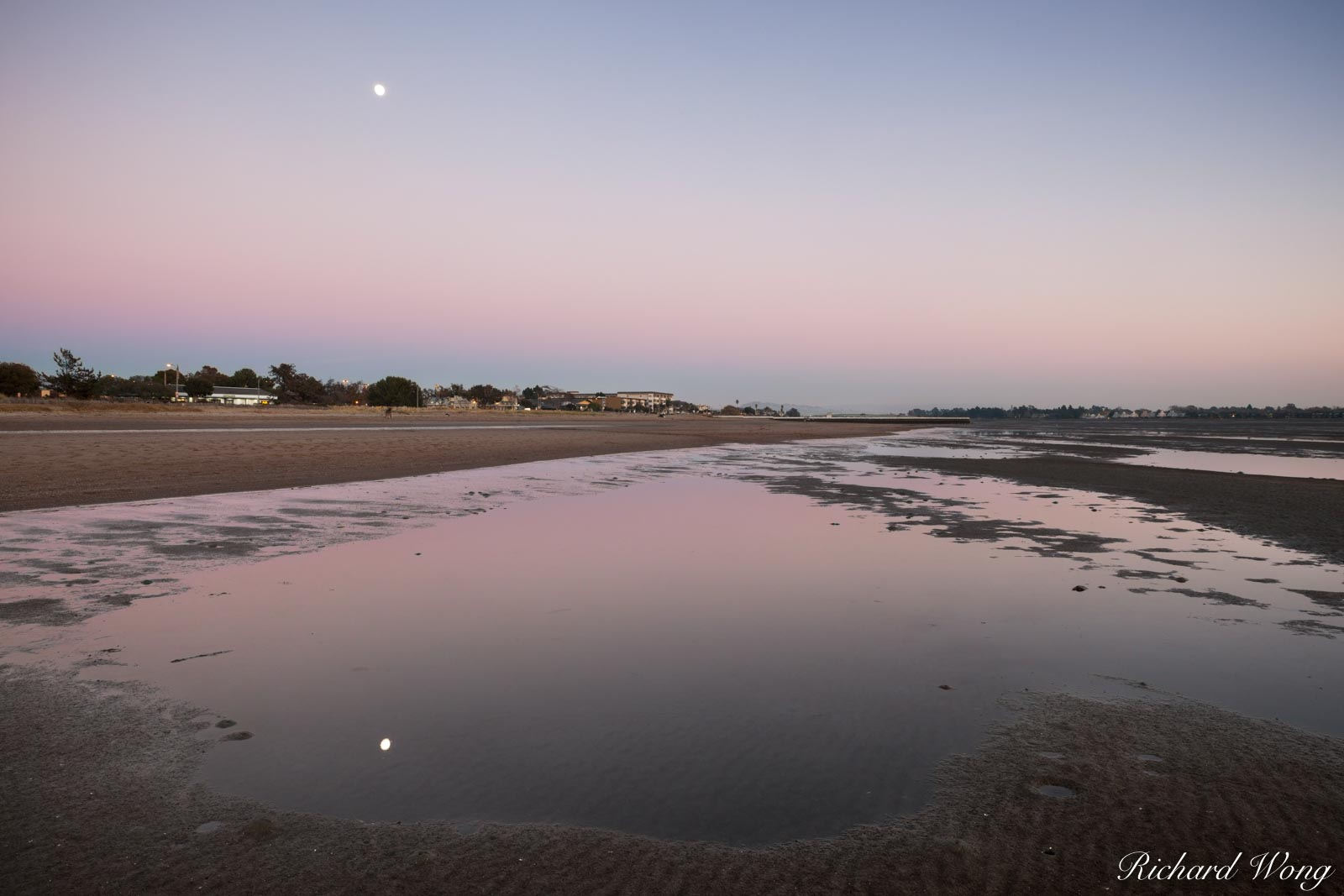 alameda, bay area, beaches, dusk, earth shadow, evening, landscape, low tide, moon, moonrise, night, northern california, outdoors, outside, reflection, robert crown memorial state beach, san francisc, photo