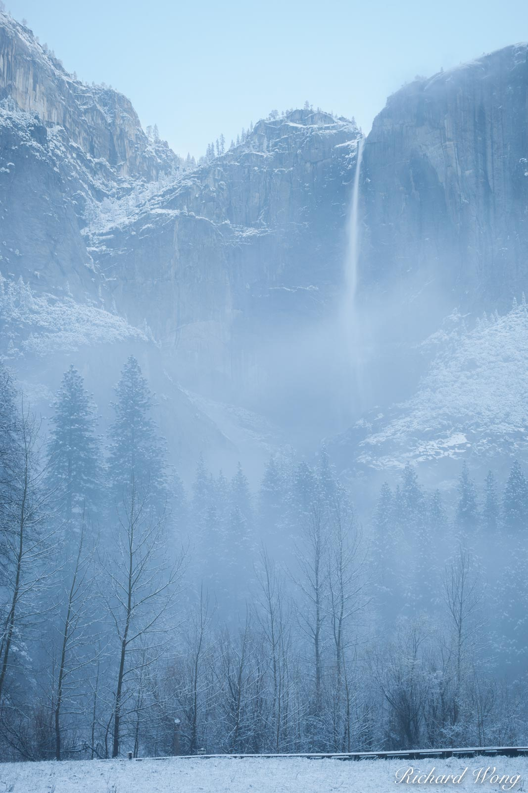 Yosemite Falls on Foggy Spring Morning at Snowstorm, Yosemite National Park, California, photo, photo