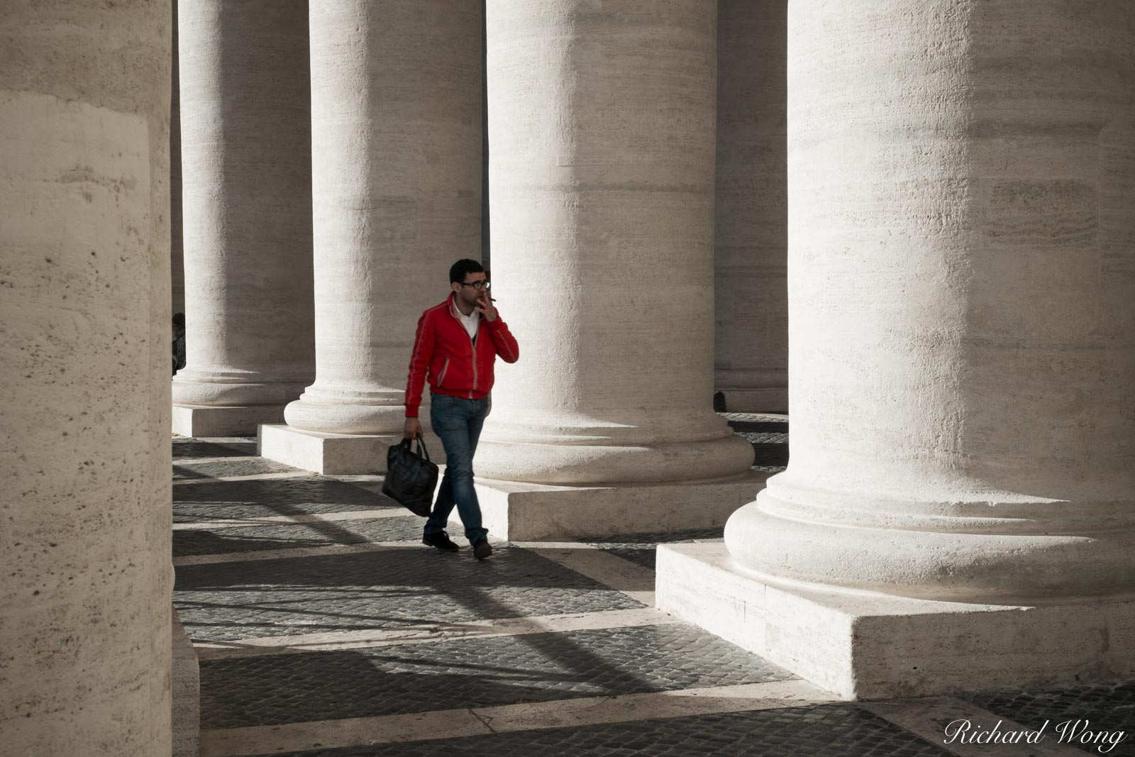 Smoking Man Walking Through Piazza San Pietro in Citta del Vaticano, Roma, Italia, photo, photo