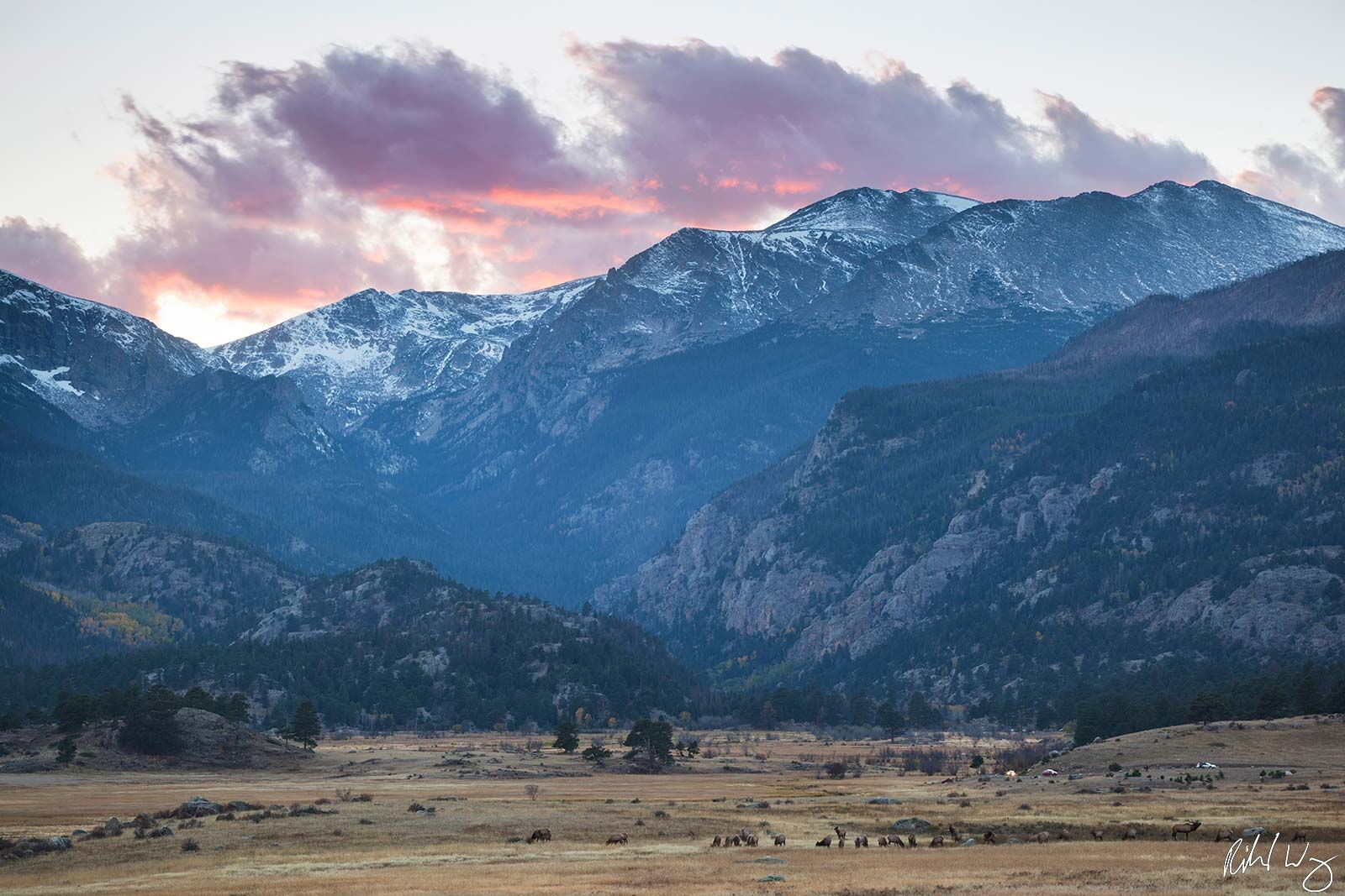 Moraine Park Fall Sunset, Rocky Mountain National Park, Colorado, Photo, photo