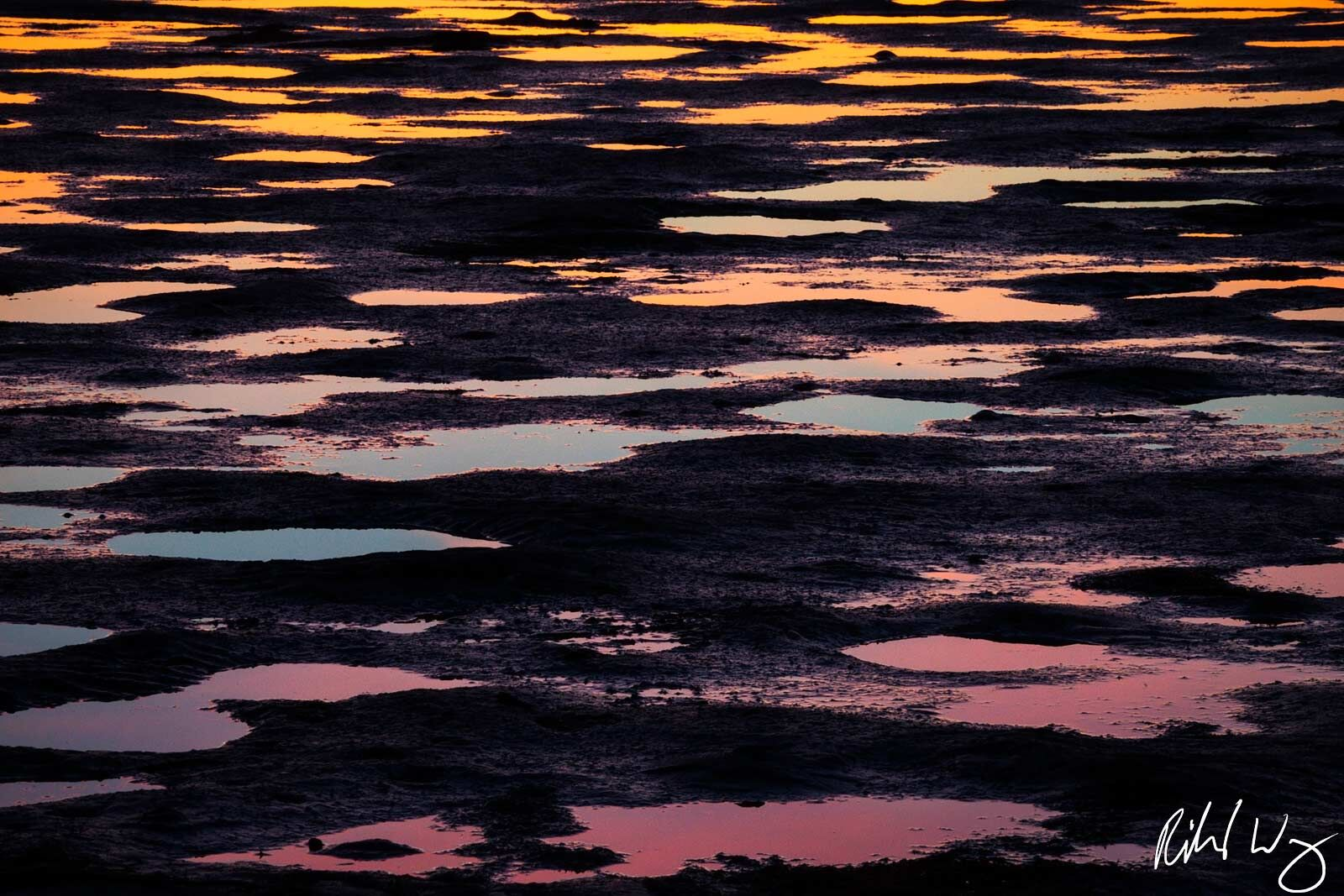 abstract, alameda, beaches, dusk, landscape, low tide, mud, nature, northern california, patterns, reflections, robert crown memorial state beach, san francisco east bay, sunset, tidal, united states , photo
