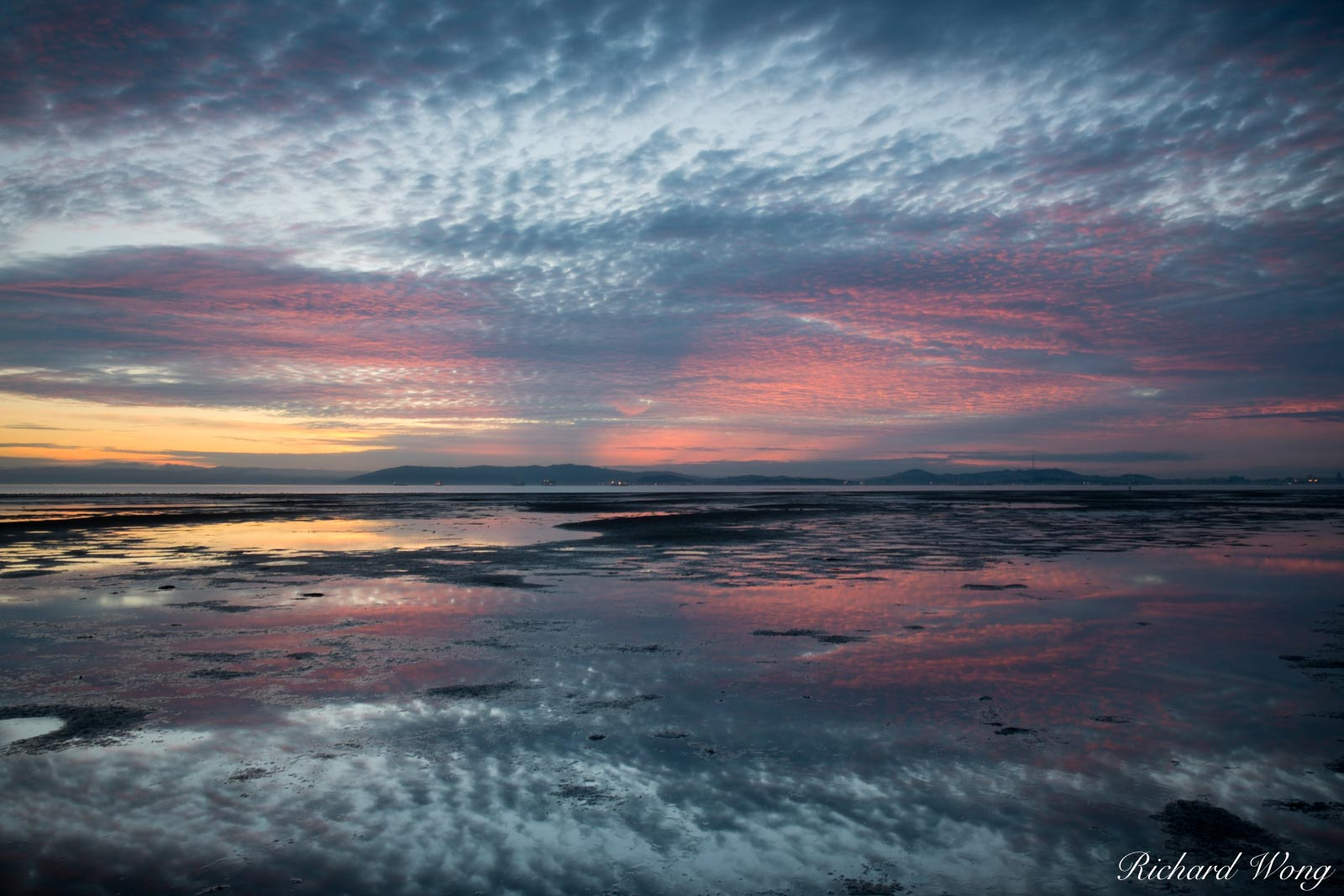 San Francisco Bay Sunset Reflections in Low Tide, Alameda, California, photo, photo