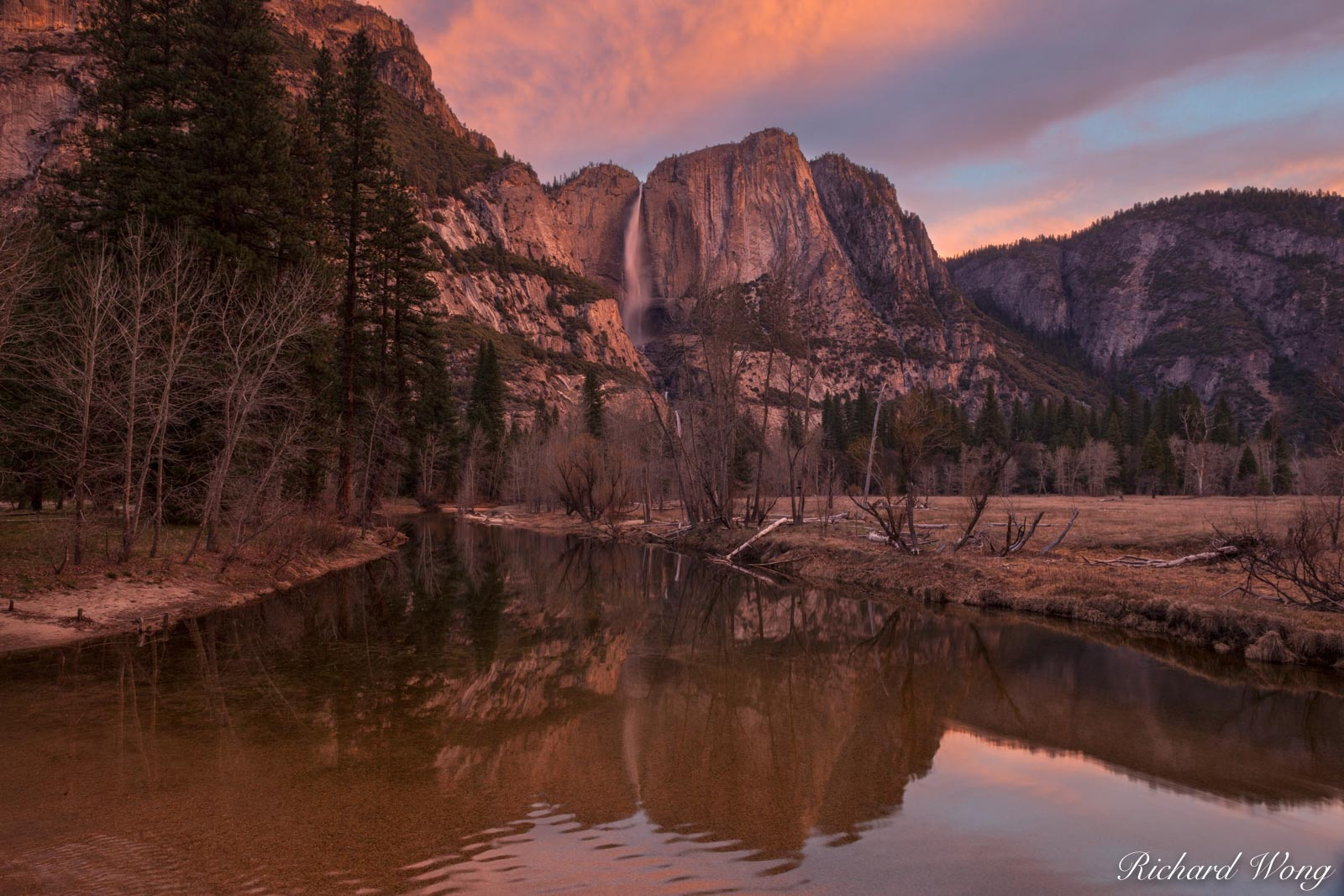 Yosemite Falls and Merced River at Sunrise From Swinging Bridge, Yosemite National Park, California, photo, photo