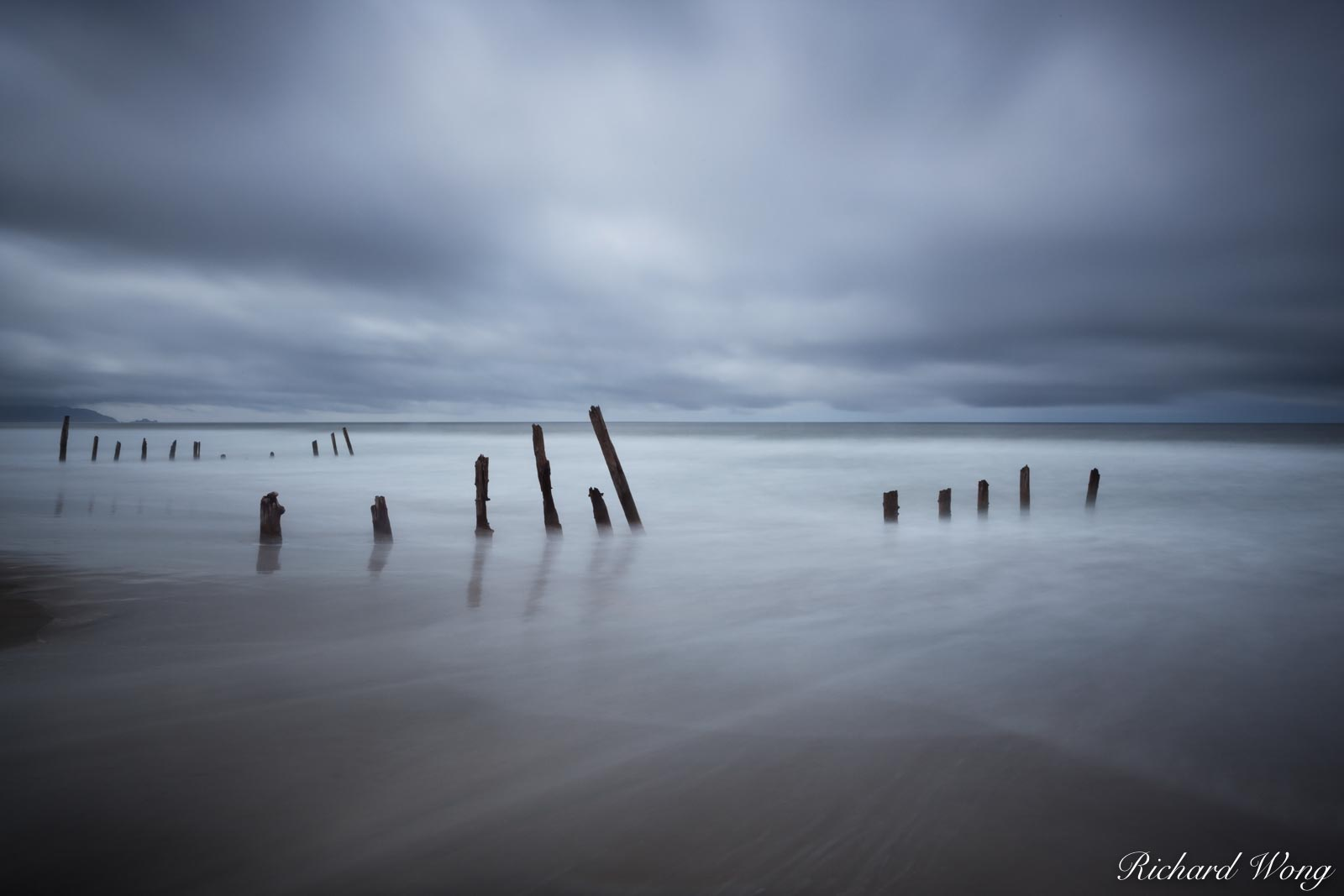 Fort Funston Beach Pilings in Rain Storm, San Francisco, California, photo, photo