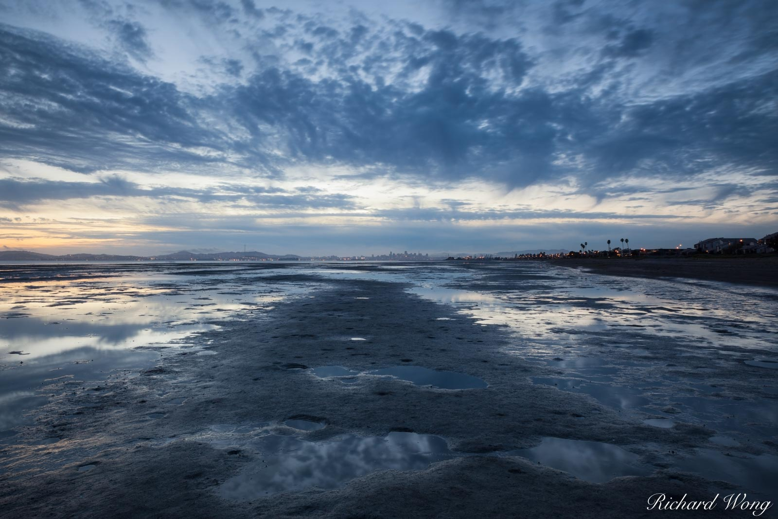 alameda, city, clouds, downtown san francisco skyline, dusk, east bay, ecosystem, evening, landscape, low tide, marsh, nature, night, northern california, outdoors, outside, patterns, reflections, rob, photo