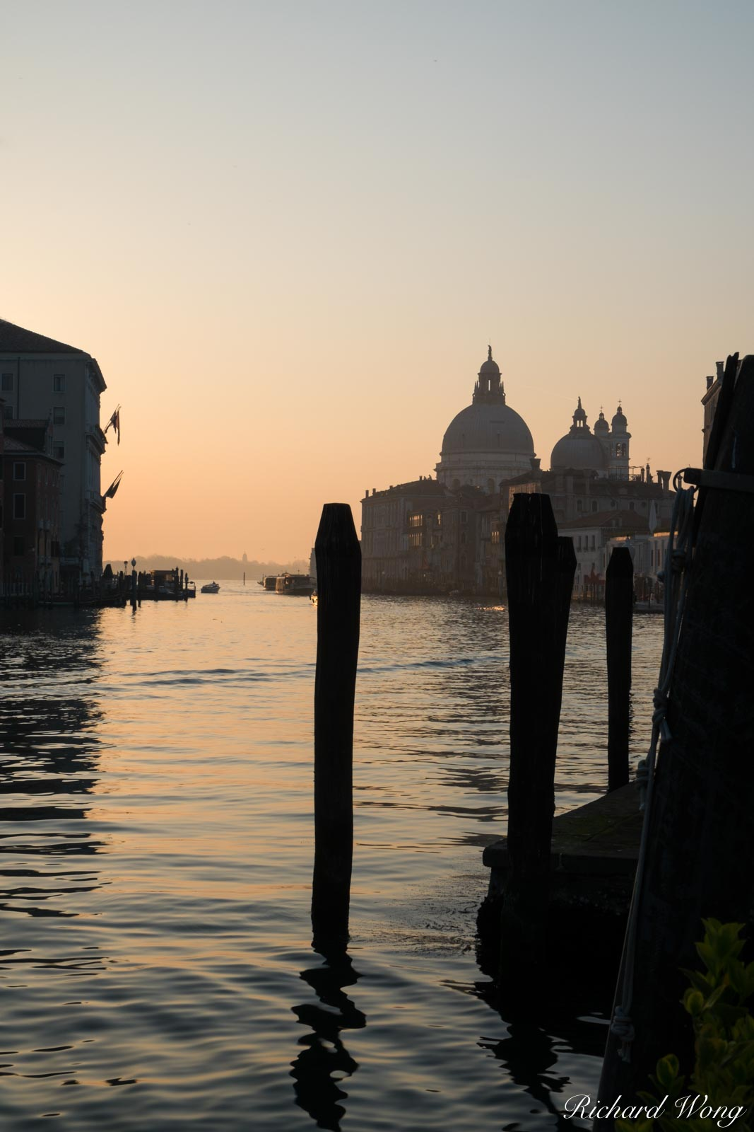 Grand Canal at Sunrise With Basilica di Santa Maria Della Salute in Background, Venice, Italy, photo, photo