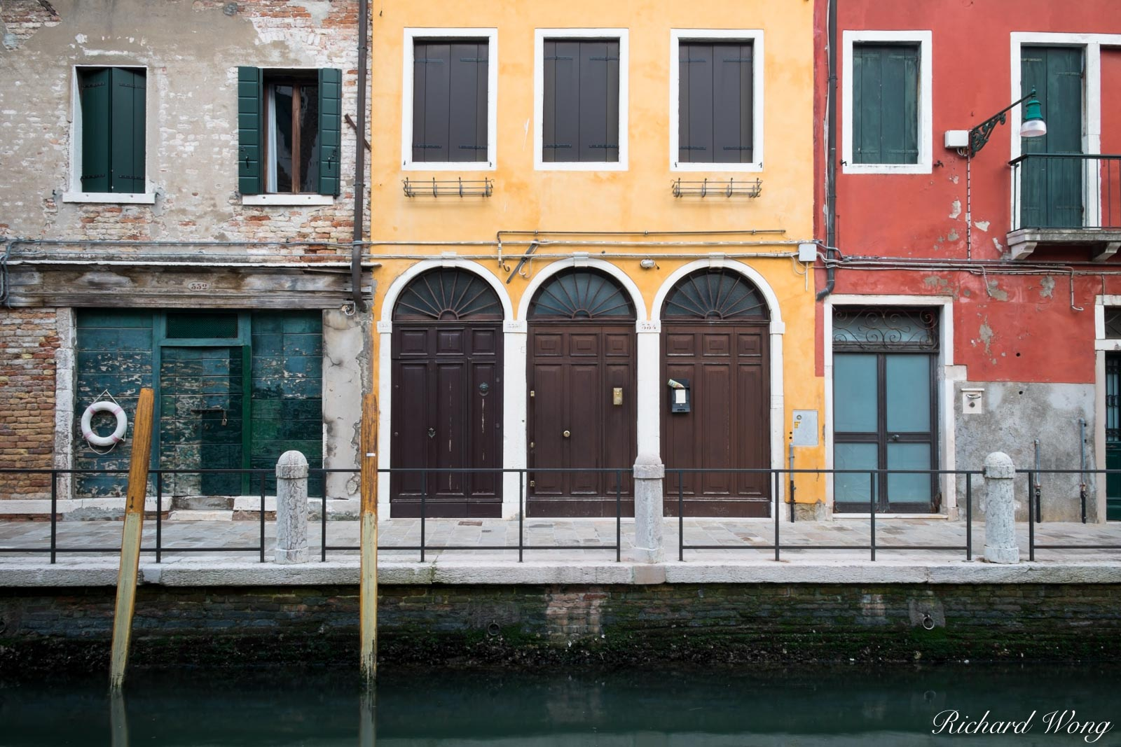 Colorful Buildings Along Canal, Venice, Italy, photo, photo