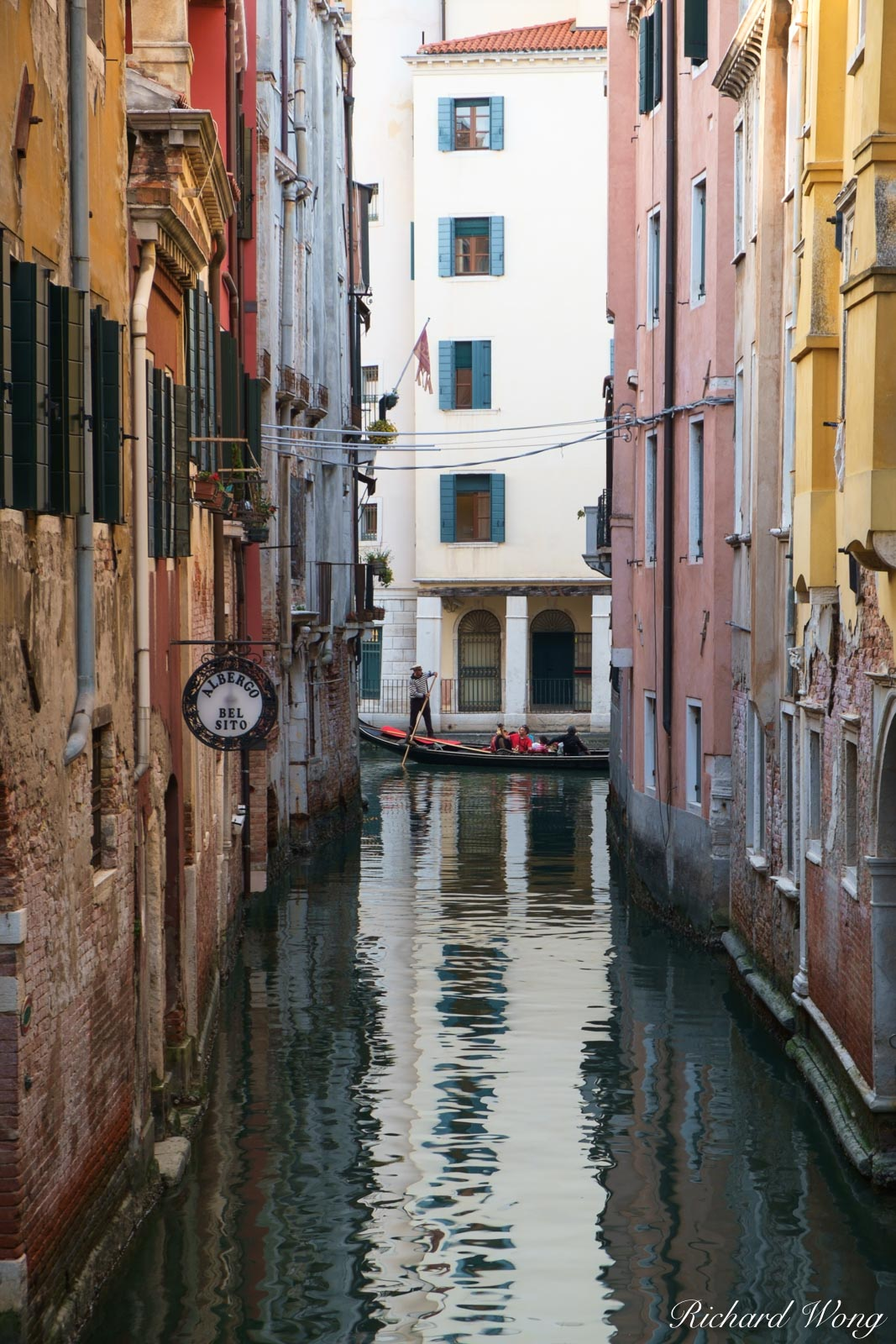 Gondola Ride in Small Canal in San Marco, Venice, Italy, photo, photo